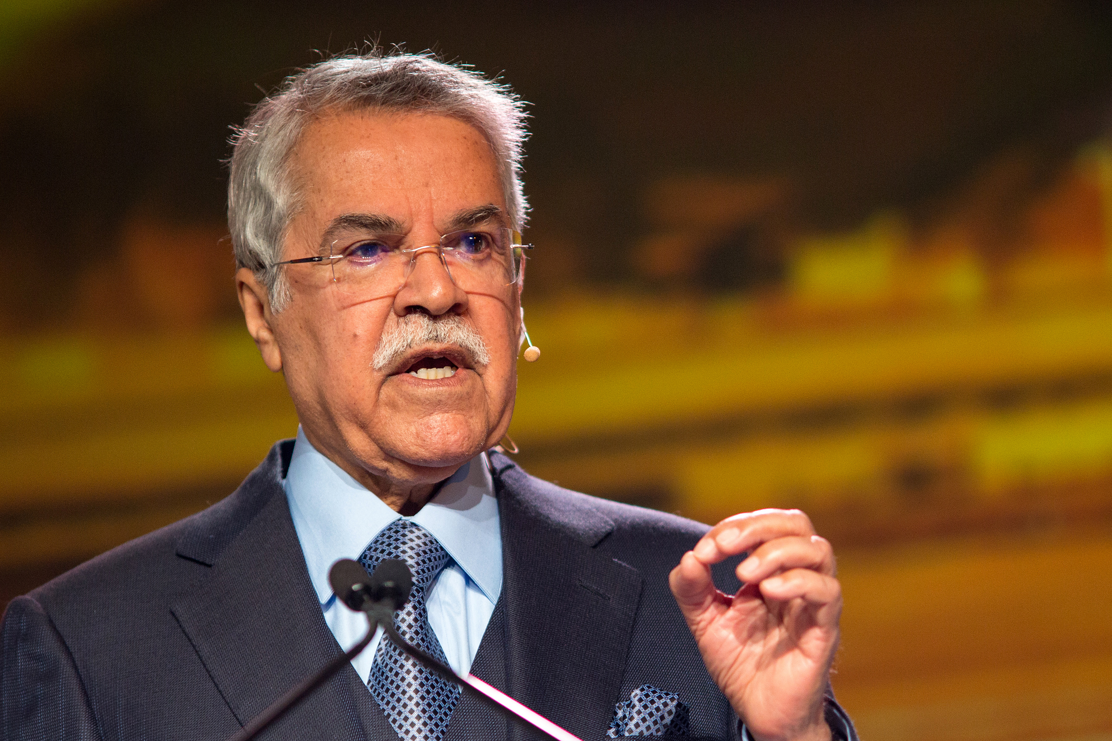 Ali Bin Ibrahim al-Naimi, Saudi Arabia's petroleum and mineral resources minister, speaks during the 2016 IHS CERAWeek conference in Houston on Feb. 23, 2016.