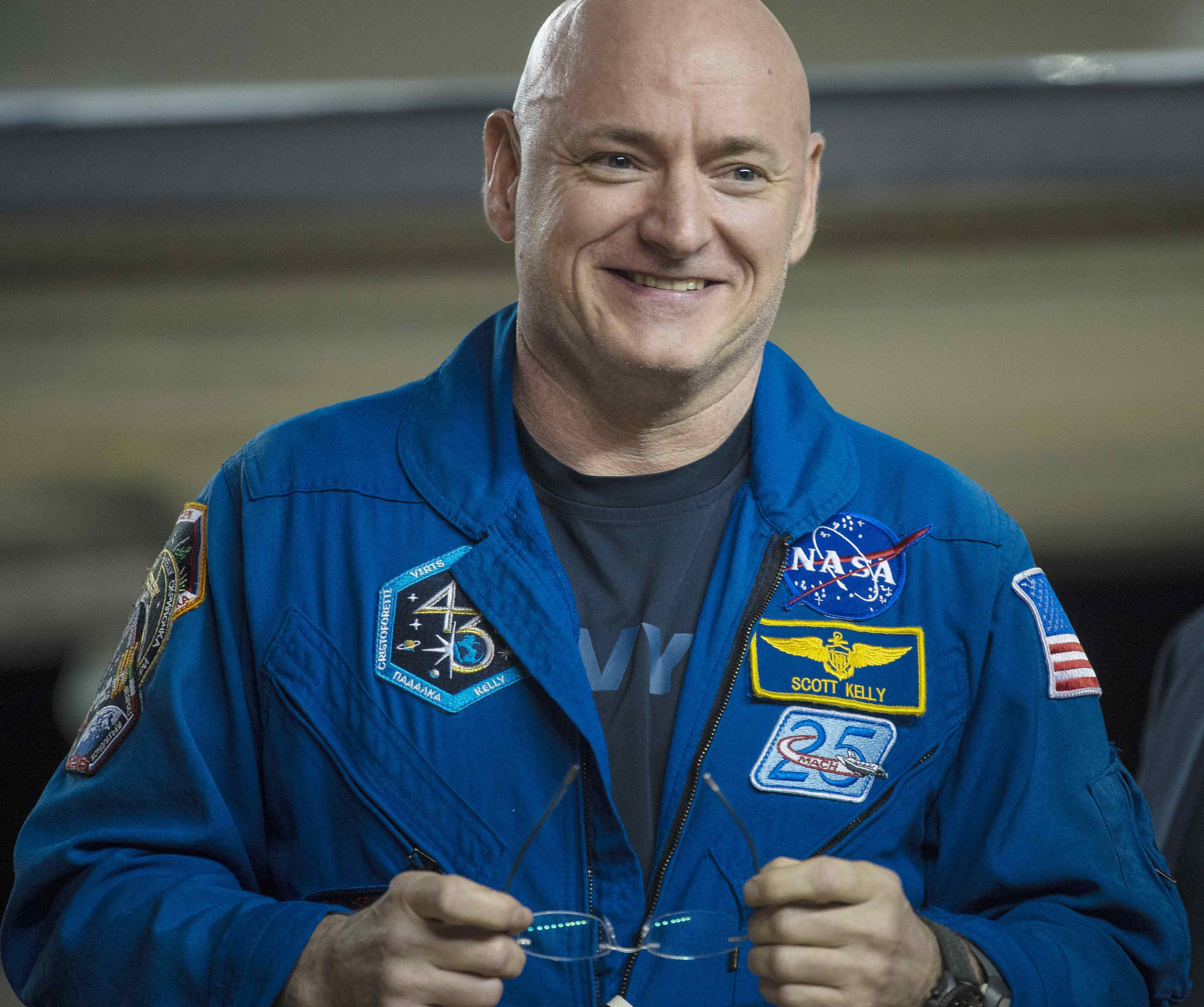 Scott Kelly of NASA is seen after returning to Ellington Field in Houston, Texas on March 3, 2016.