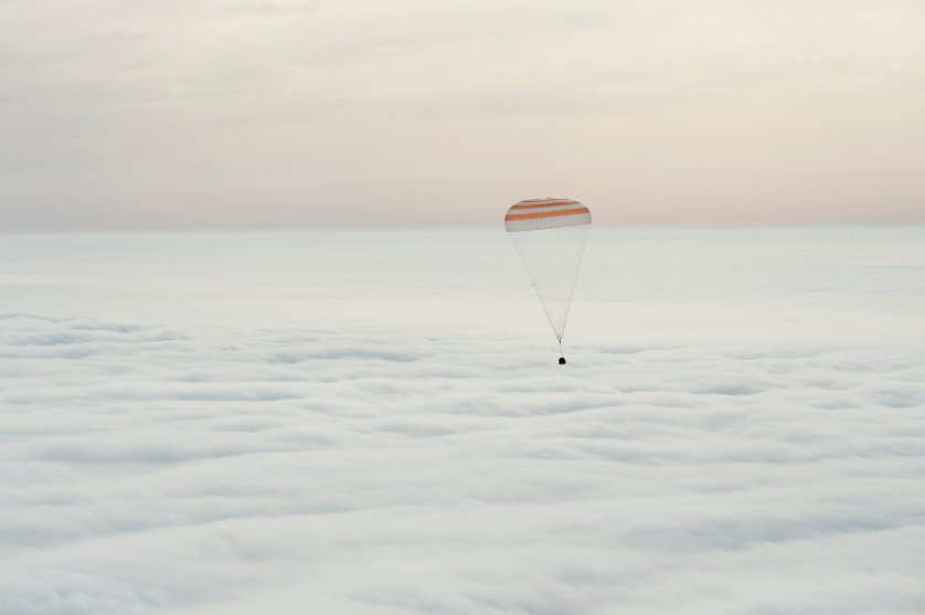 The Soyuz TMA-18M spacecraft is seen as it lands with Expedition 46 Commander Scott Kelly of NASA and Russian cosmonauts Mikhail Kornienko and Sergey Volkov of Roscosmos near the town of Zhezkazgan, Kazakhstan on March 2, 2016