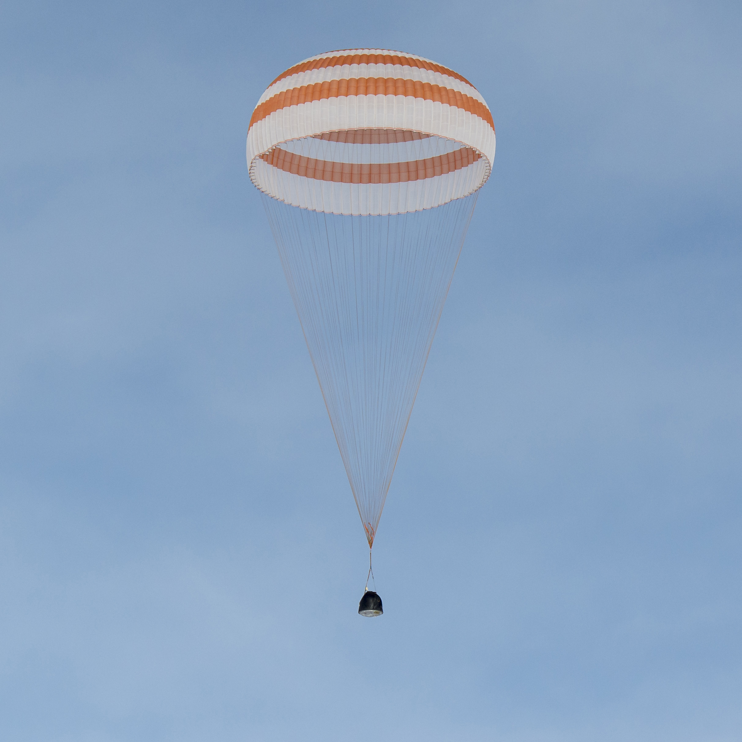 A closer view of the Soyuz TMA-18M spacecraft is seen as it lands near the town of Zhezkazgan, Kazakhstan on March 2, 2016.