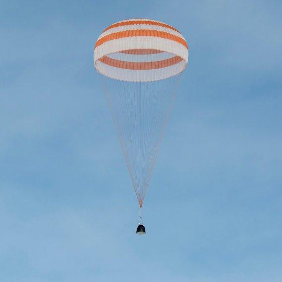 A closer view of the Soyuz TMA-18M spacecraft is seen as it lands near the town of Zhezkazgan, Kazakhstan on March 2, 2016.