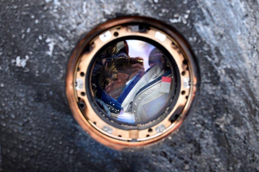 Mikhail Kornienko of Russia is seen inside the Soyuz TMA-18M space capsule after landing in Kazakhstan, on March 2, 2016.