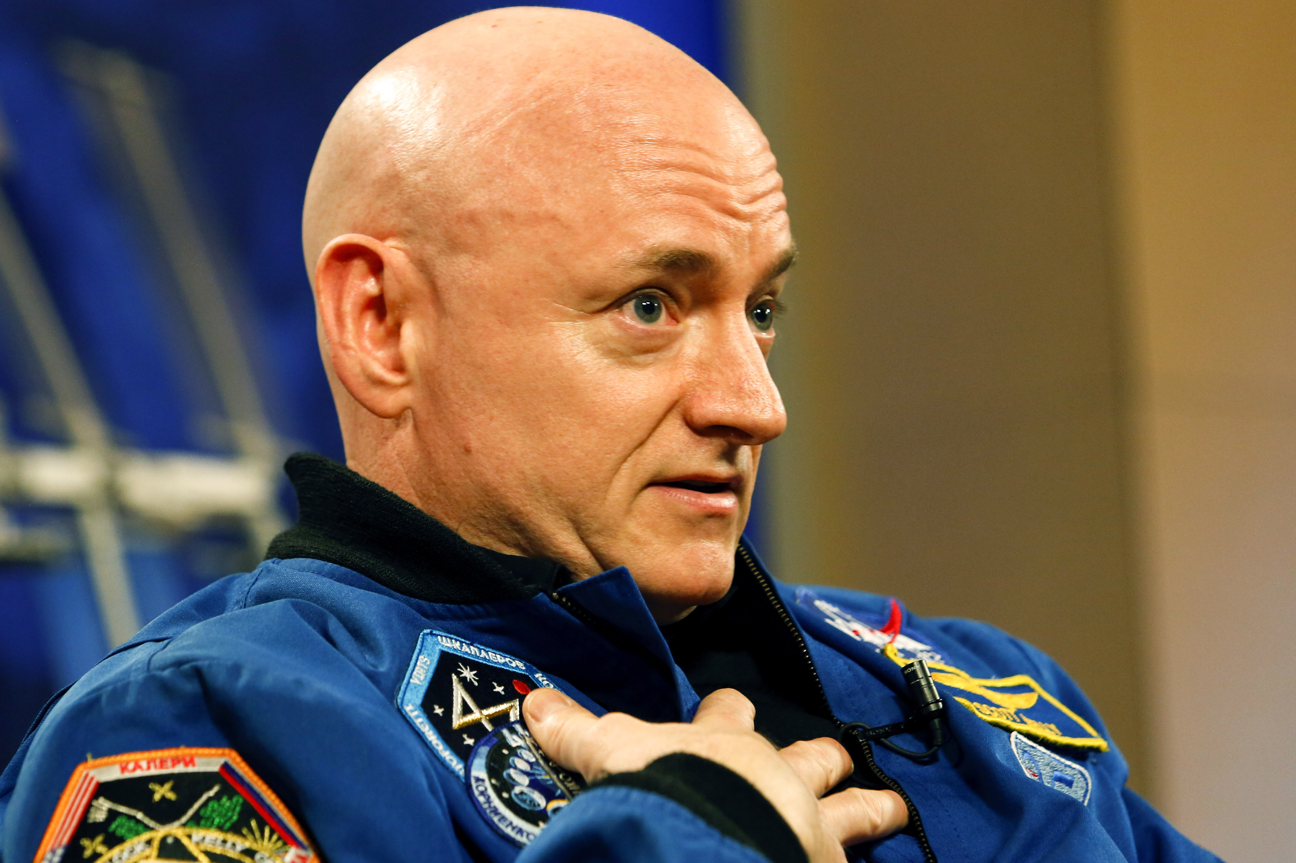 NASA Astronaut Scott Kelly speaks to the media after returning from a one year mission in space aboard the International Space Station, March 4, 2016 in Houston, Texas.
