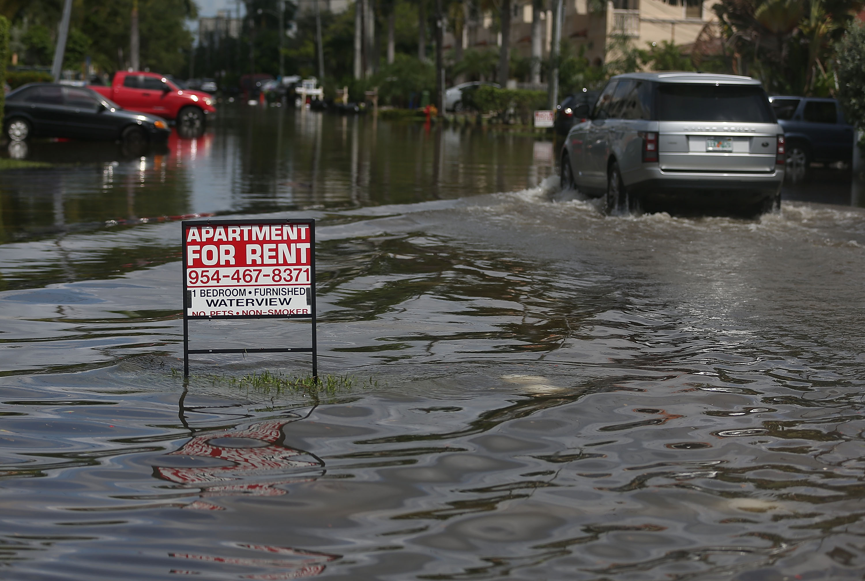 An apartment for rent sign is seen in a flooded street caused by the combination of the lunar orbit which caused seasonal high tides and what many believe is the rising sea levels due to climate change on Sept. 30, 2015 in Fort Lauderdale, Fla.