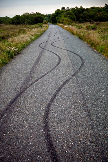 County Roscommon Tyre marks deliberately burned into the road by a joyrider.