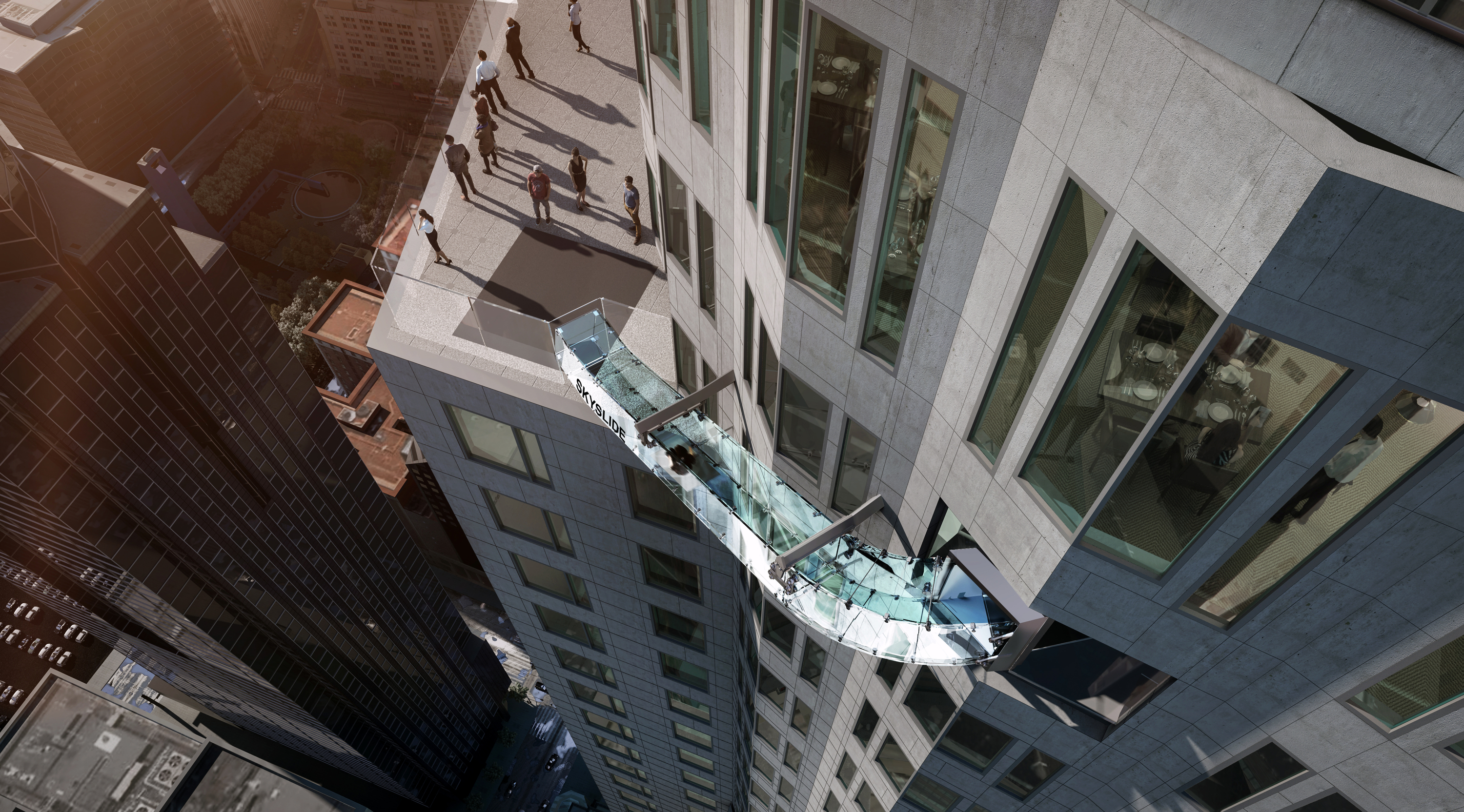 This undated artist's rendering provided by Overseas Union Enterprise Limited shows a glass slide 1,000 feet above the ground off the side of the U.S. Bank Tower in downtown Los Angeles.
