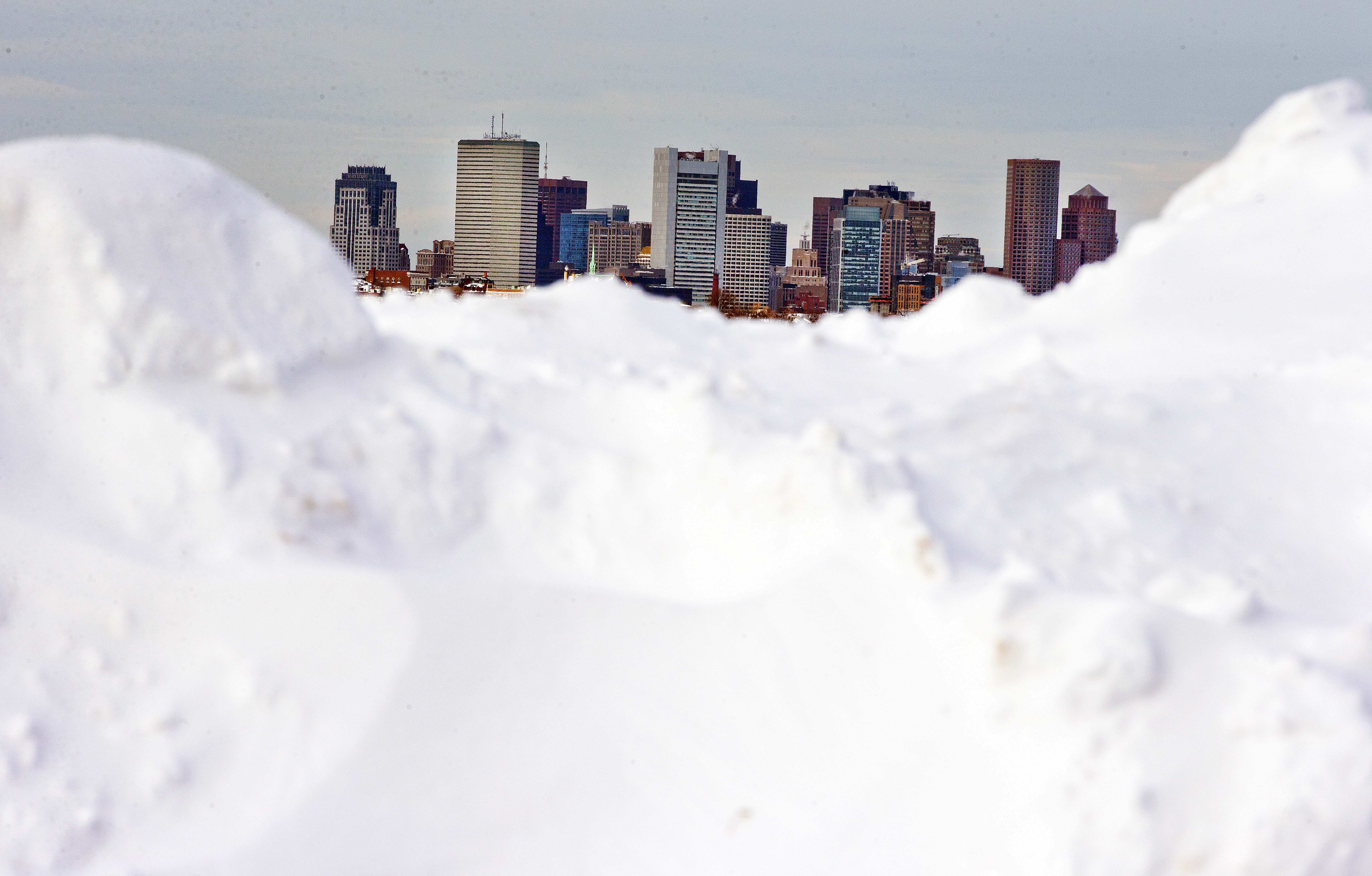 Piles of snow along the streets of Boston.