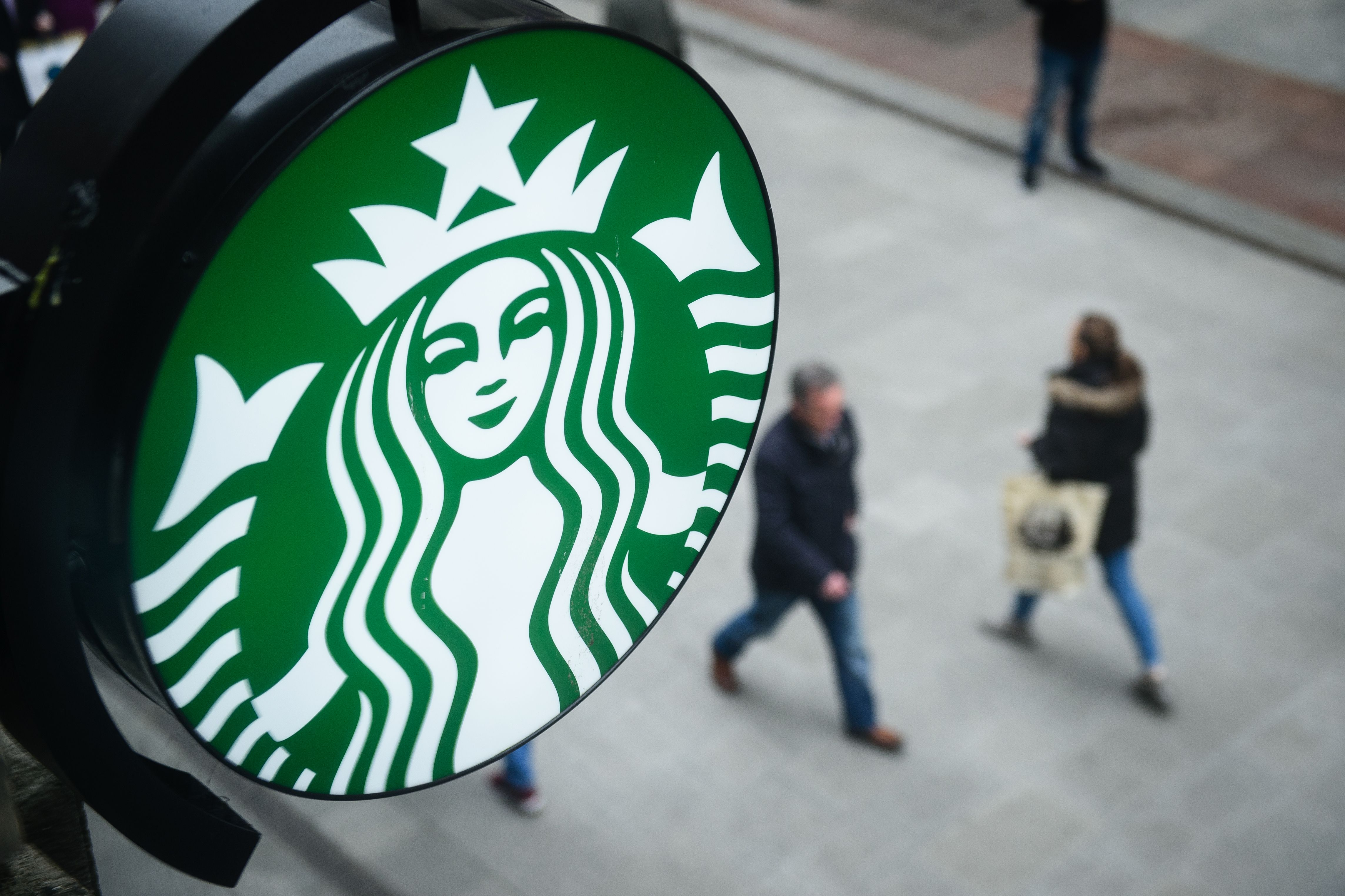 The Starbucks logo is pictured outside a branch of the coffee shop chain in Dublin, Ireland, on February 25, 2016.