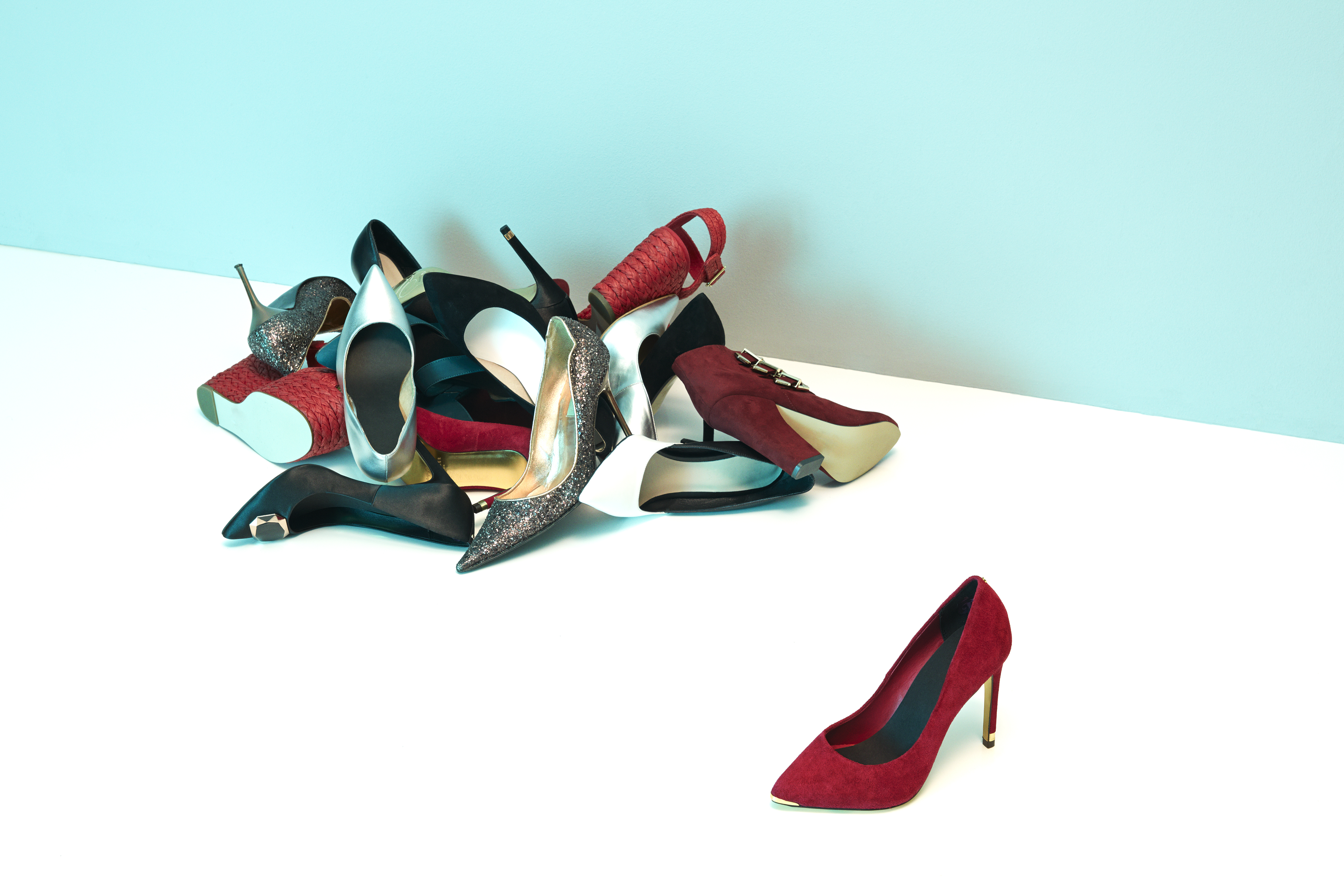 Assorted ladies high heeled shoes