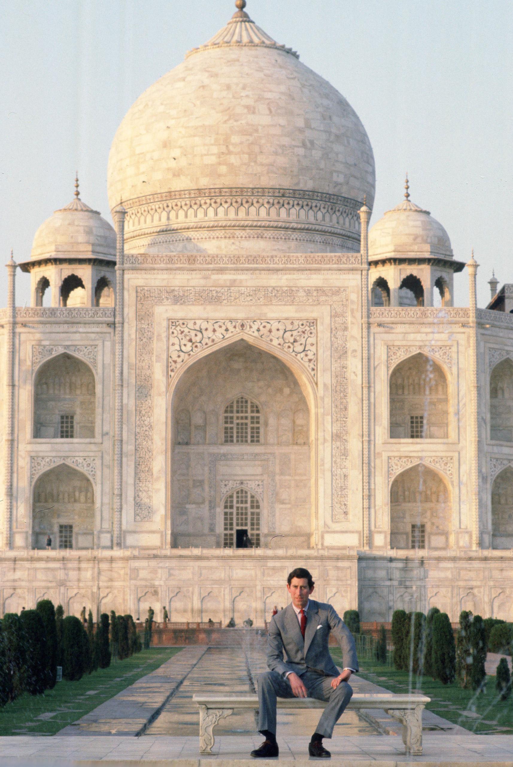 Prince Charles, Prince of Wales visits the Taj Mahal in India, Nov. 28, 1980.