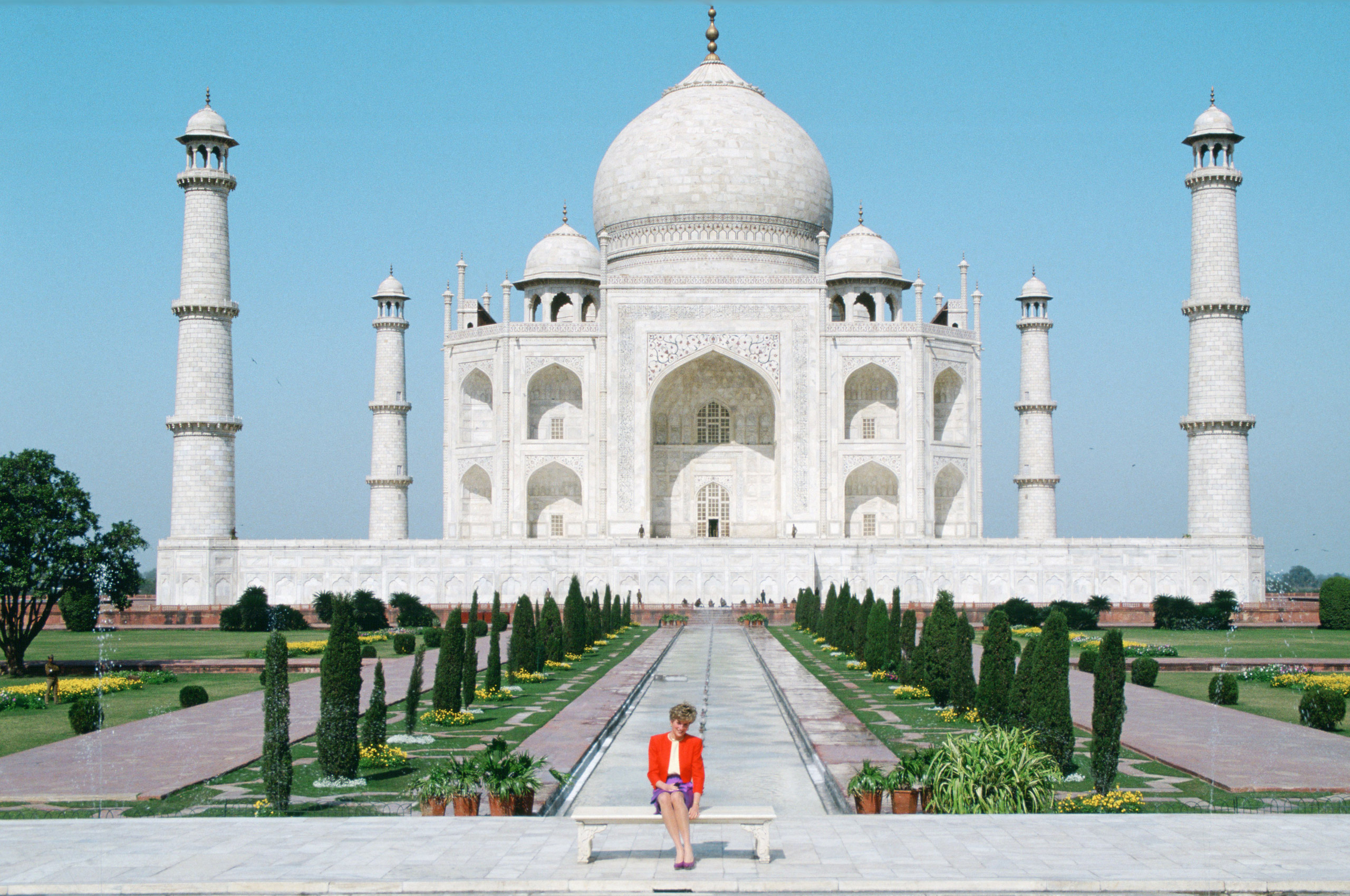 Diana Princess of Wales sits in front of the Taj Mahal during a visit to India, Feb. 11, 1992.