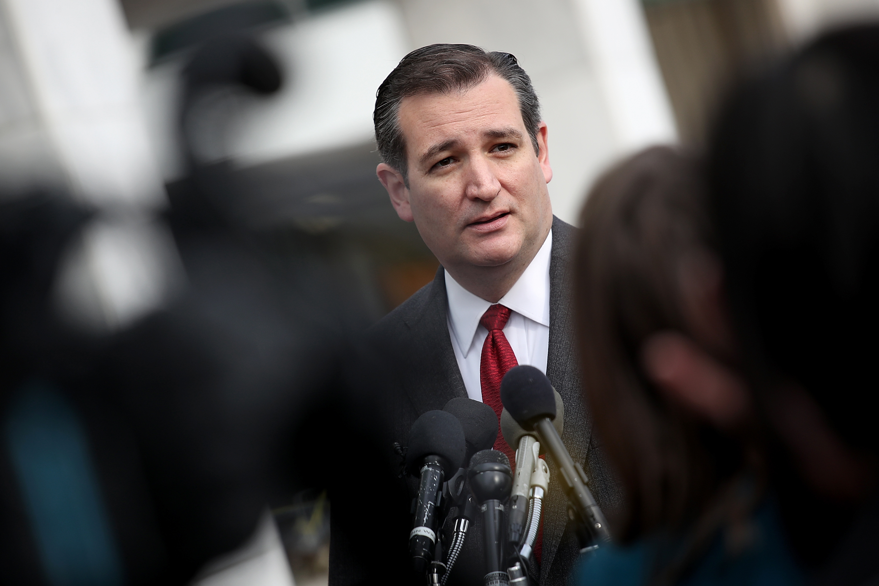 Republican presidential candidate Sen. Ted Cruz (R-TX) addresses the bombings in Brussels during remarks in Washington, D.C., on March 22, 2016.