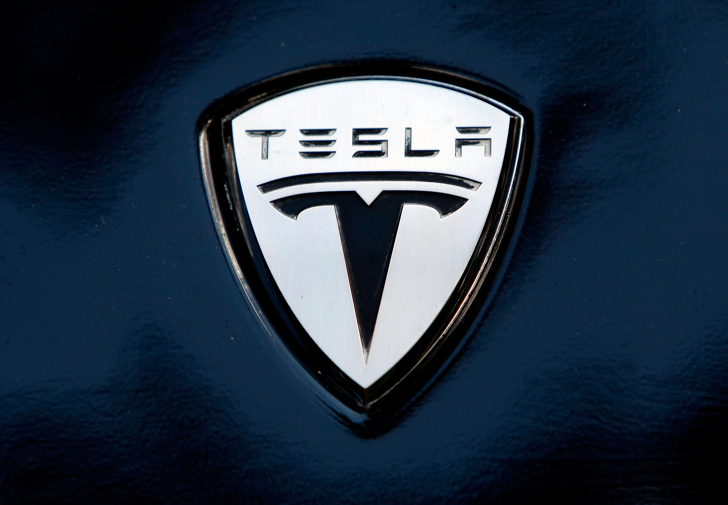 The Tesla electric car logo is shown during a display of alternative energy vehicles on Capitol Hill June 12, 2008 in Washington, DC.