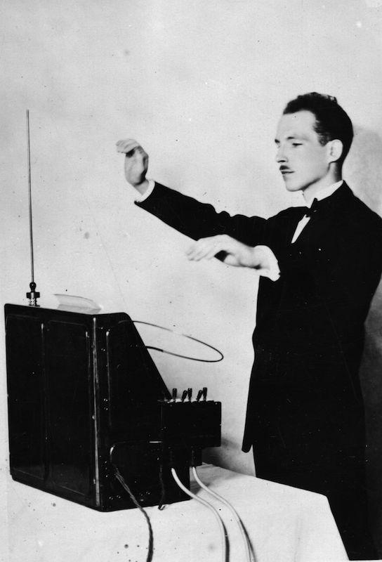 Professor Leon Theremin demonstrating his theremin on Dec. 12, 1927