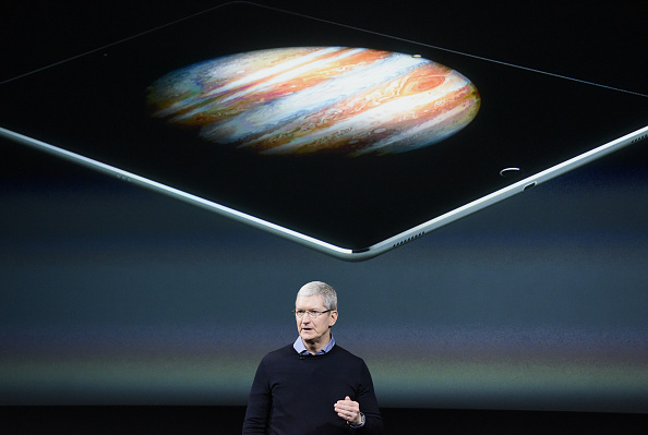 Tim Cook, chief executive officer of Apple Inc., speaks during an Apple event in Cupertino, Calif., on March 21.