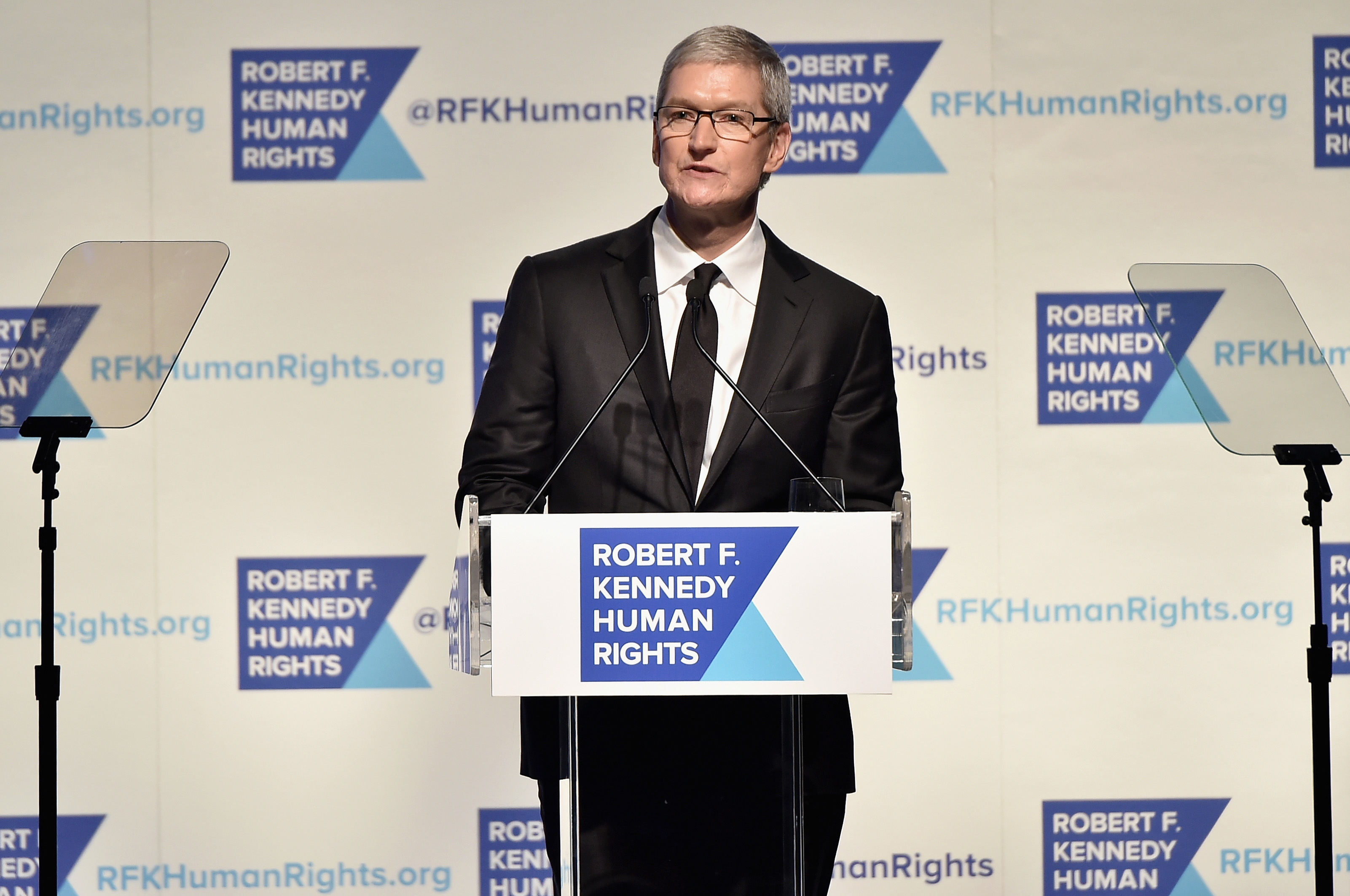 Apple CEO Tim Cook speaks onstage as Robert F. Kennedy Human Rights hosts The 2015 Ripple Of Hope Awards on Dec. 8, 2015 in New York City.
