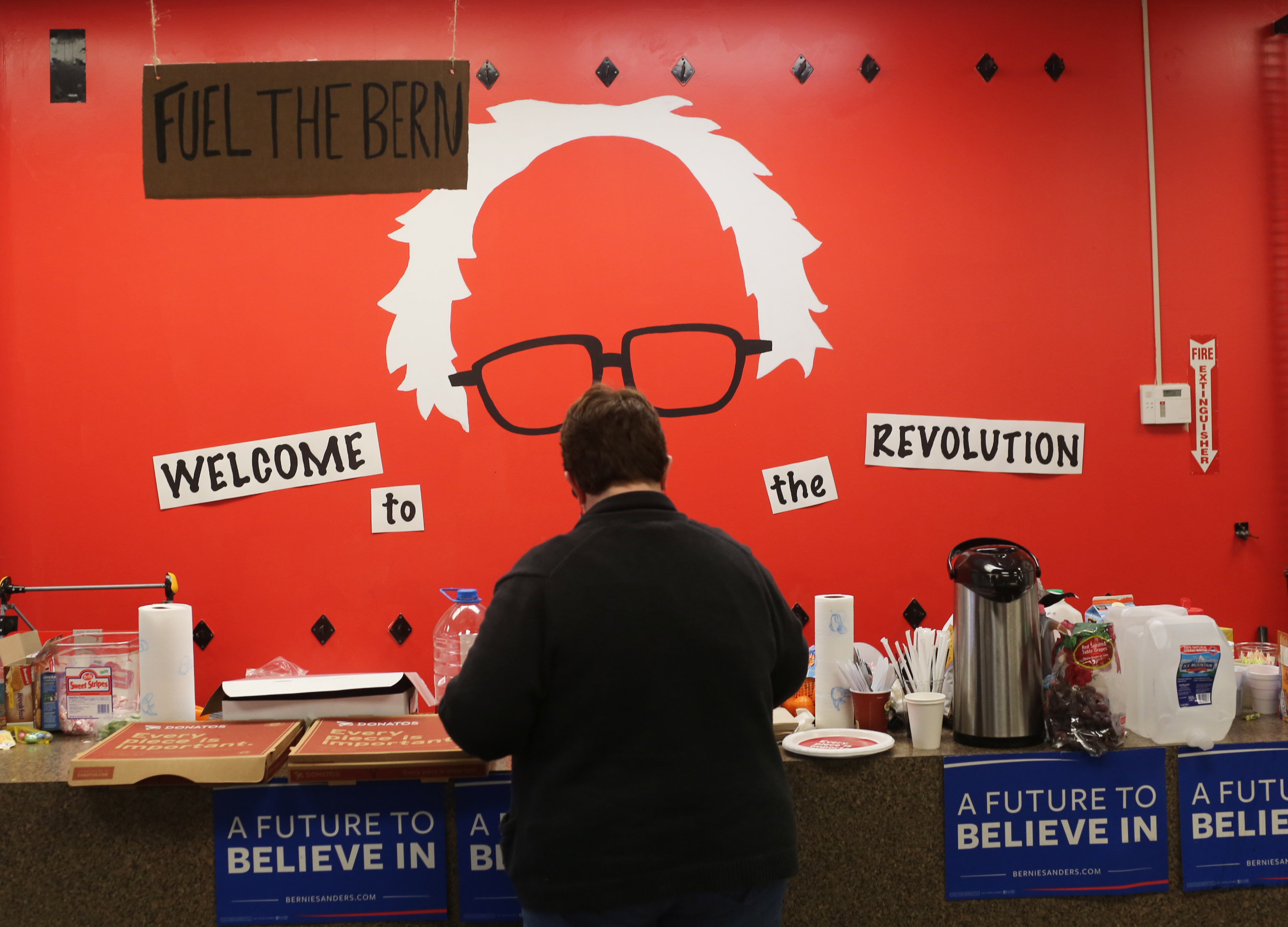 A volunteer grabs coffee and snacks at a campaign office for Democratic presidential candidate, Vermont Sen. Bernie Sanders on March 15, 2016 in Columbus, Ohio.