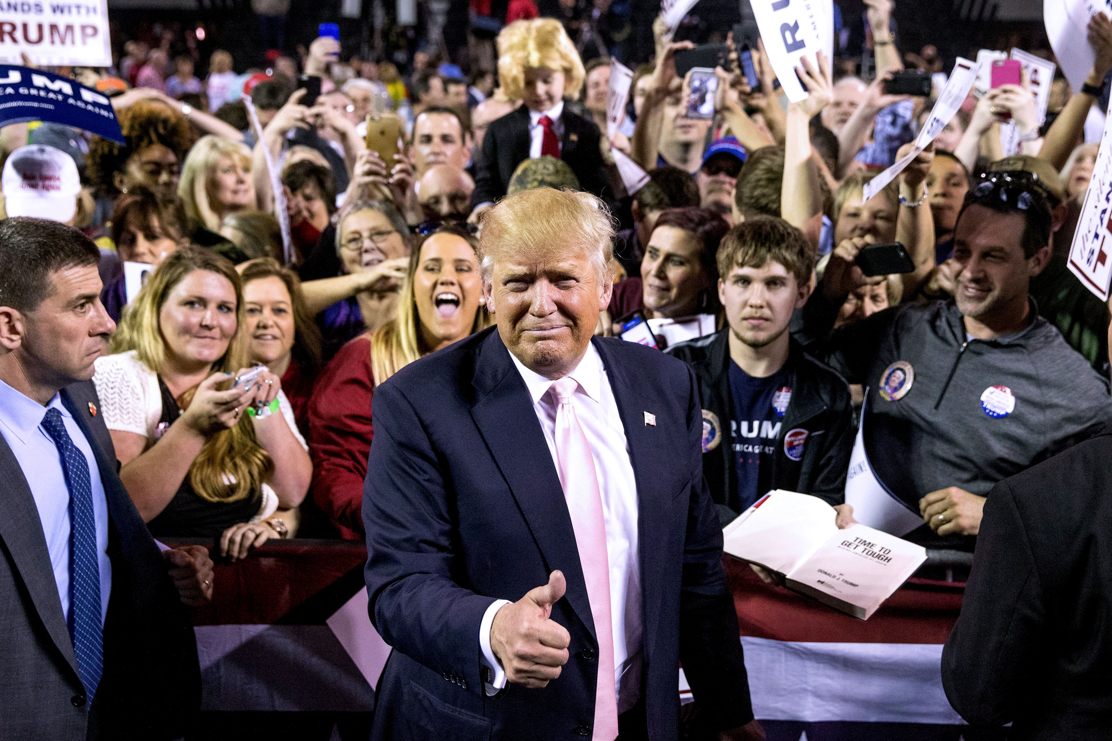 Republican presidential candidate Donald Trump holds a rally in Valdosta, Ga., on Feb. 29.