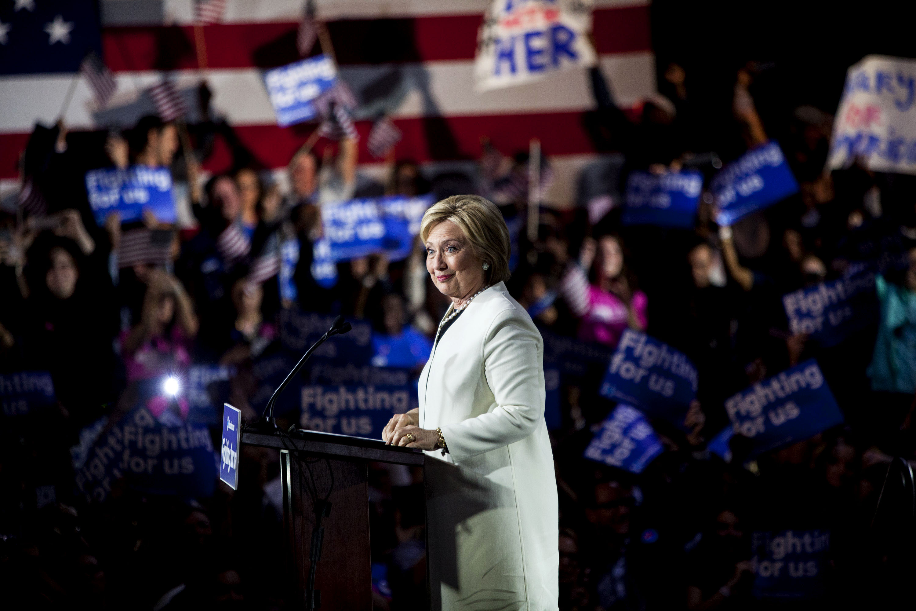 Democratic presidential candidate, former Secretary of State Hillary Clinton hosts a Super Tuesday campaign event on March 1, 2016 in Miami.