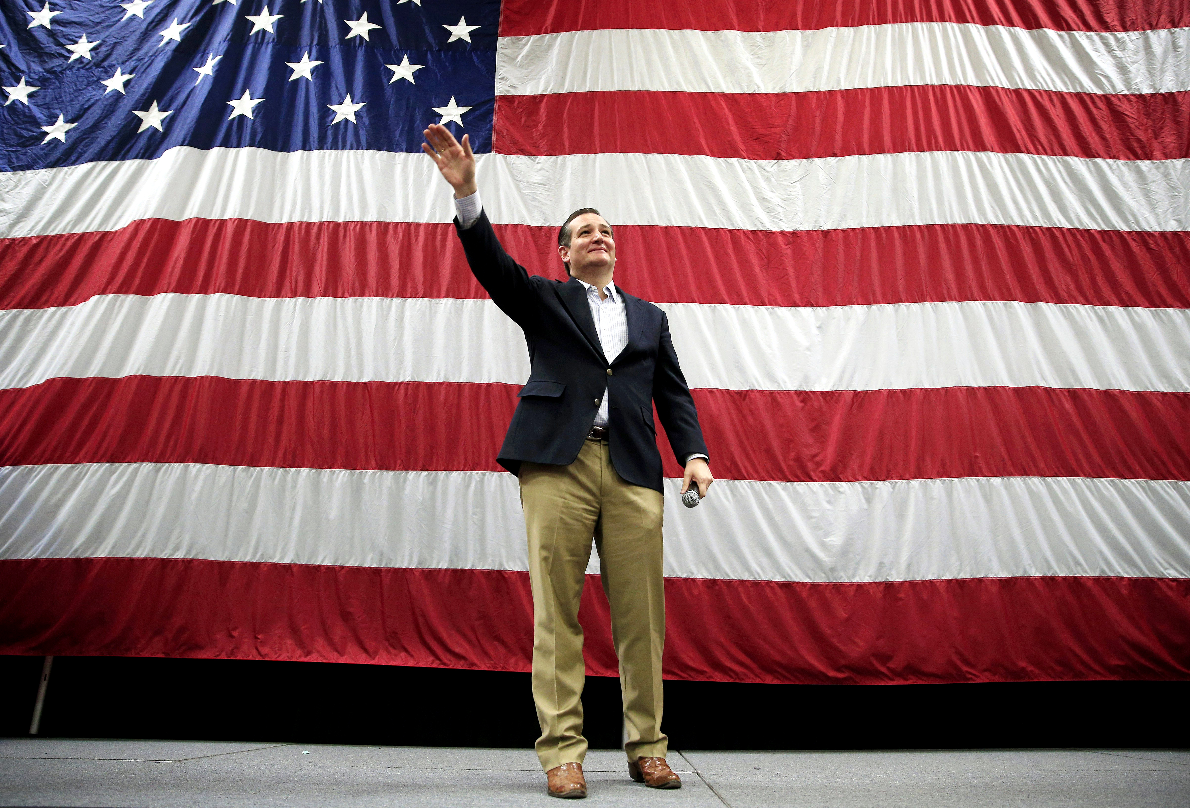 Republican presidential candidate, Sen. Ted Cruz, R-Texas, waves at a campaign rally in Draper, Utah on  March 19.