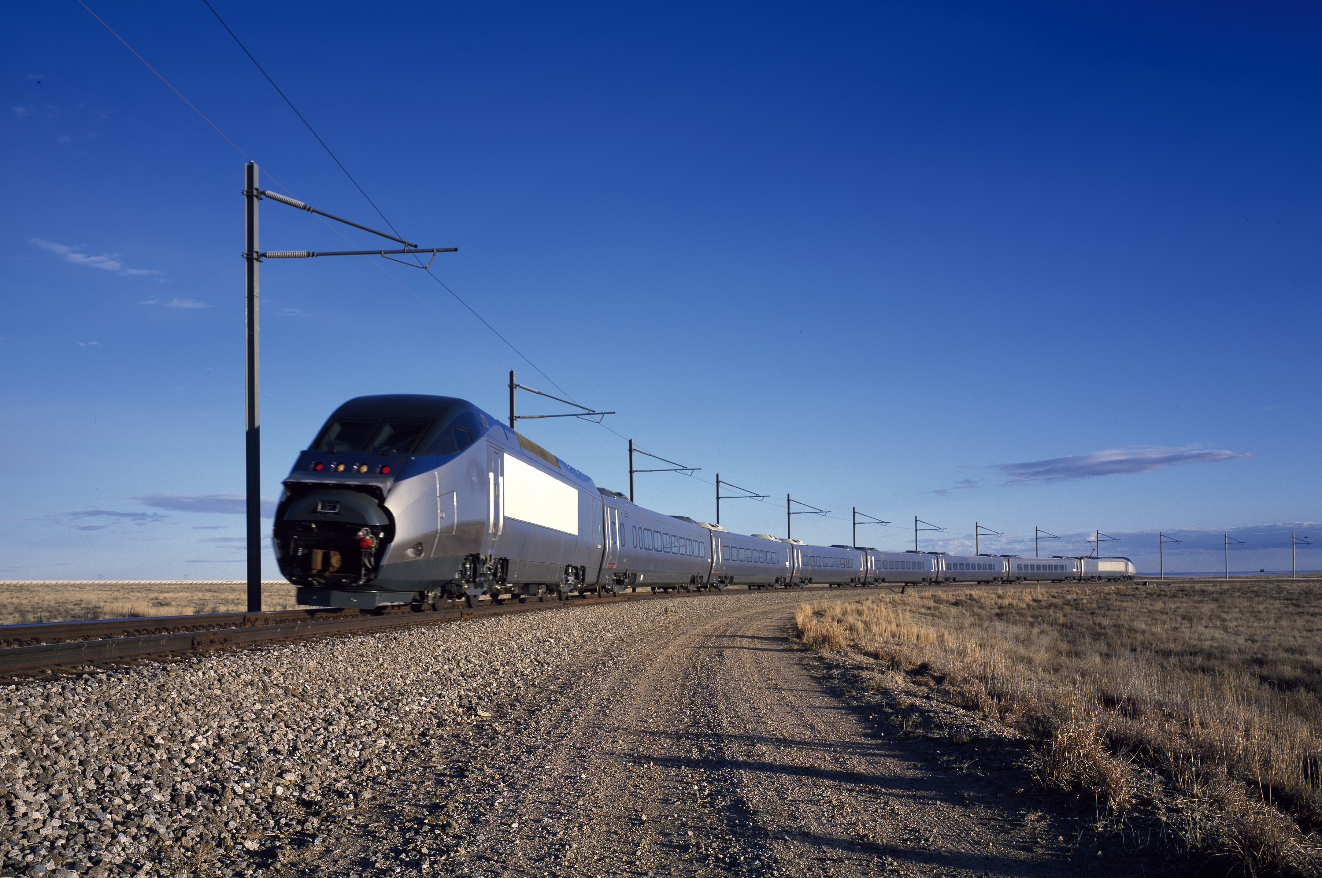 An Amtrak Acela high-speed train is tested in Pueblo, Colo.