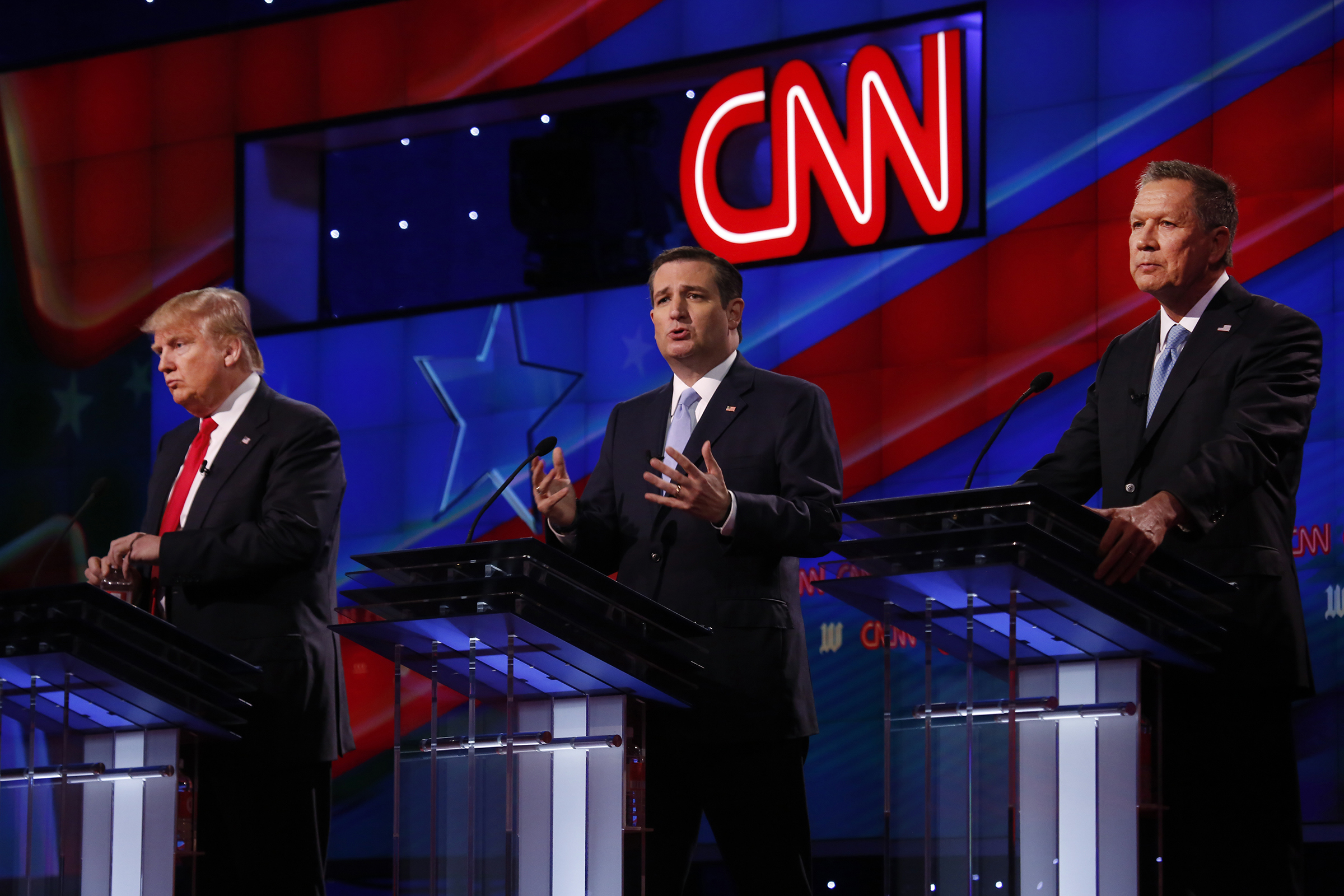 Donald Trump, Ted Cruz, and John Kasich take part in a debate at the University of Miami on March 10, 2016, hosted by CNN and the Washington Times.