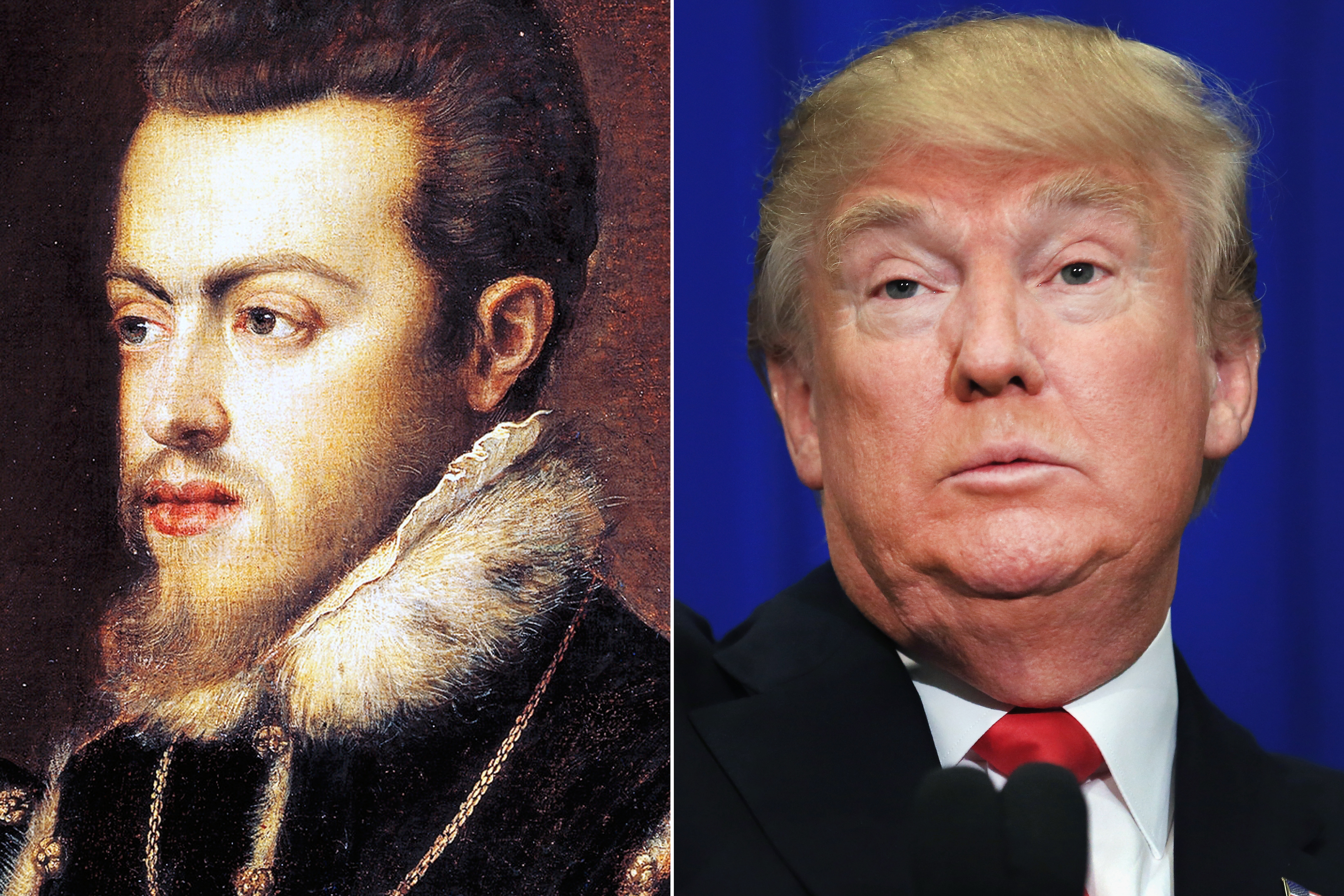 Painting by Titian, of Philip II of Spain (L); Donald Trump speaks in Fort Worth, TX, on Feb. 26, 2016.