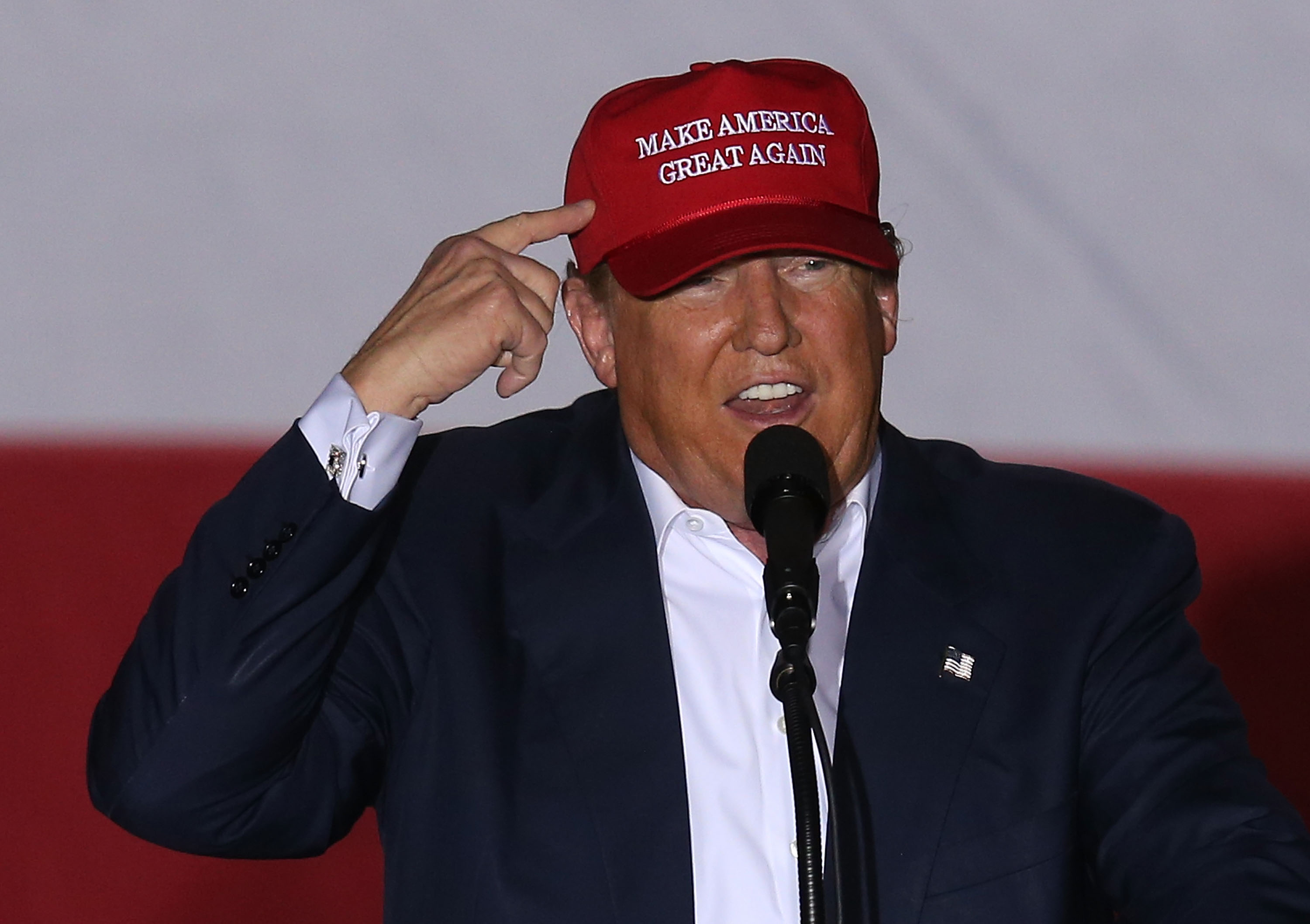 Republican presidential candidate Donald Trump speaks during his campaign rally at the Sunset Cove Amphitheater in Boca Raton, Fla., on March 13, 2016.