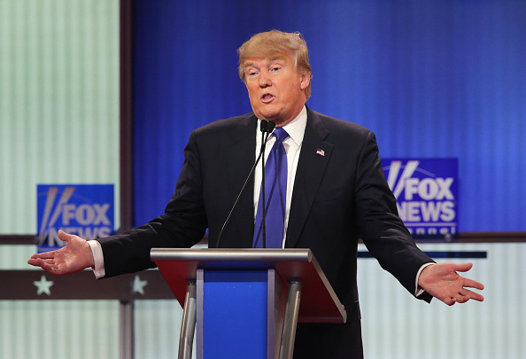 Republican presidential candidate Donald Trump participates in a debate sponsored by Fox News at the Fox Theatre in Detroit on March 3, 2016.