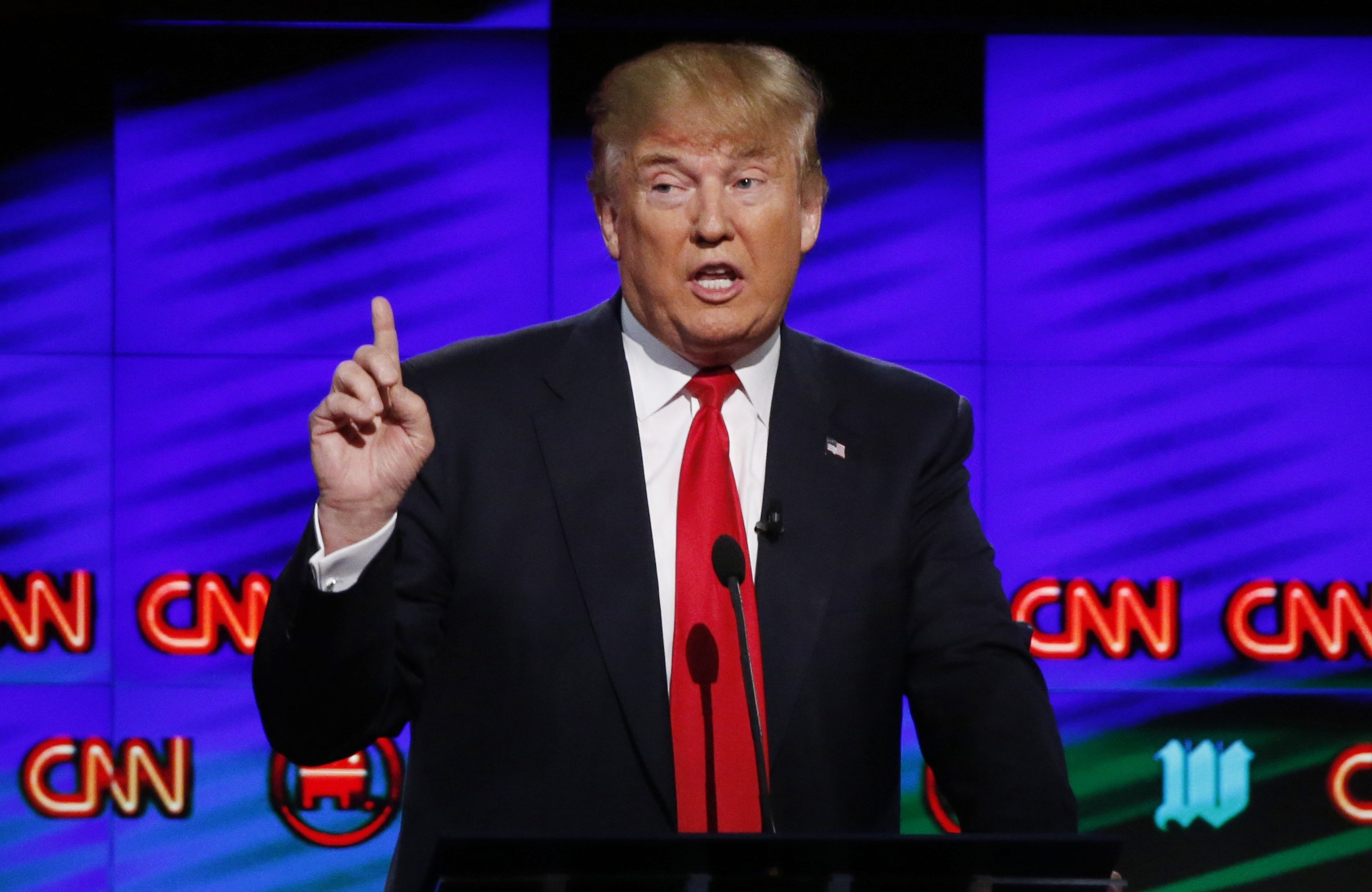 Republican presidential candidate Donald Trump speaks during the Republican presidential debate sponsored by CNN, Salem Media Group and the Washington Times at the University of Miami, in Coral Gables, Fla., March 10, 2016.