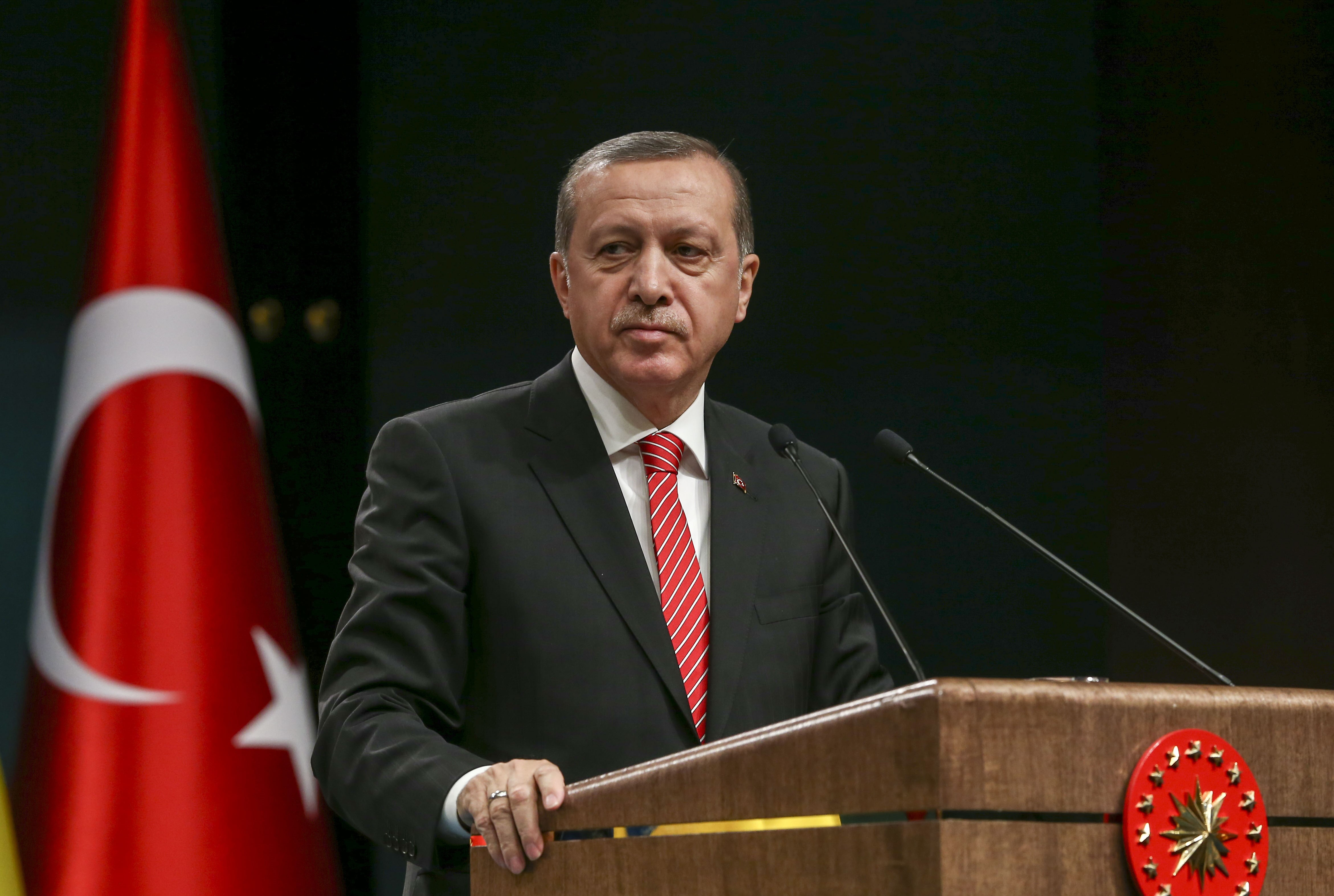 President of Turkey Recep Tayyip Erdogan at a press conference after the 5th Turkey-Ukraine High Level Strategic Council Meeting in Ankara, Turkey on March 9, 2016.