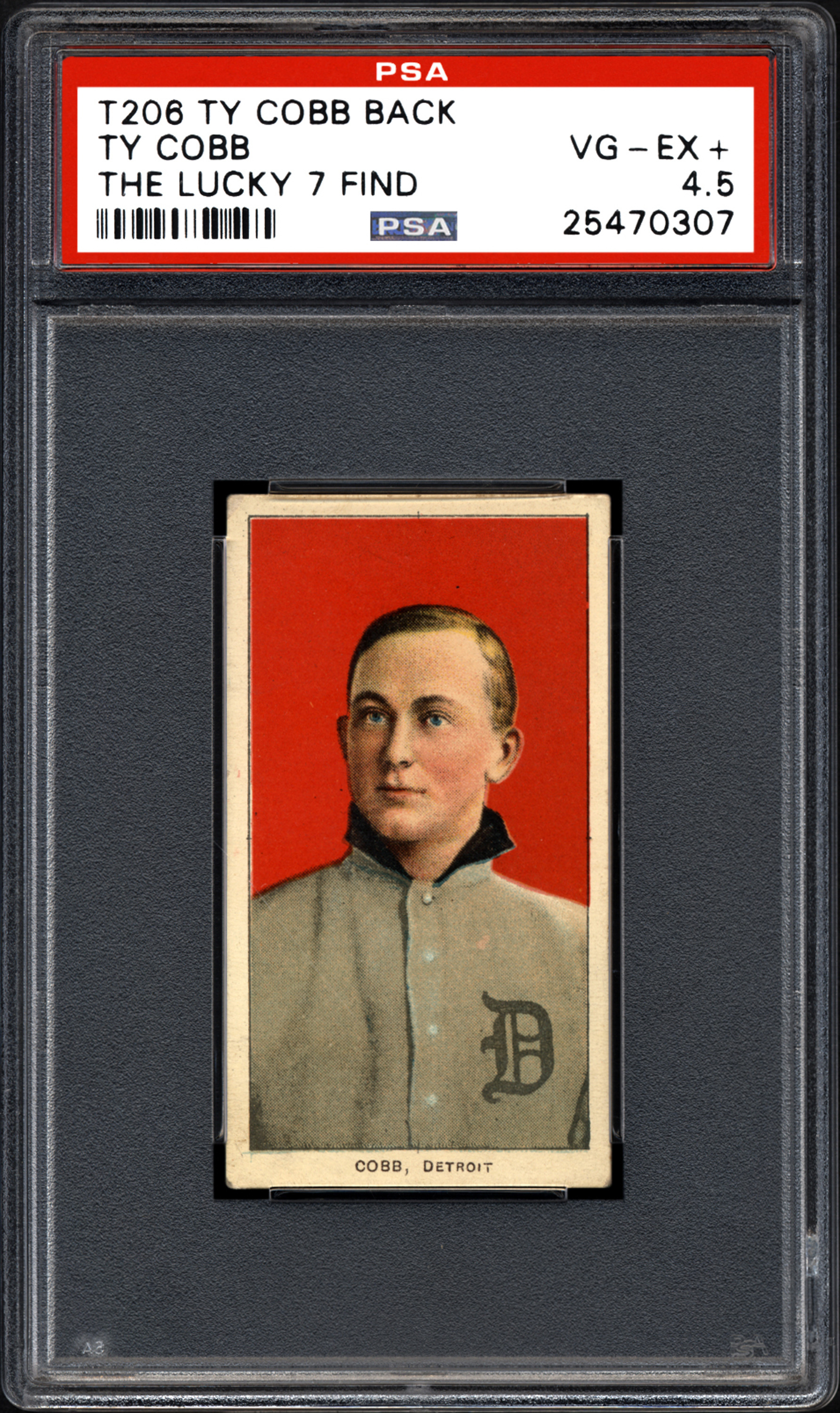 This undated photo provided by Professional Sports Authenticator shows one of seven Ty Cobb baseball cards, that were found crumpled inside a paper bag in a dilapidated house. Card experts in Southern California say they have verified the legitimacy, and seven-figure value, of the seven identical Ty Cobb cards from the printing period of 1909 to 1911. Before the recent find there were only about 15 known to still exist.