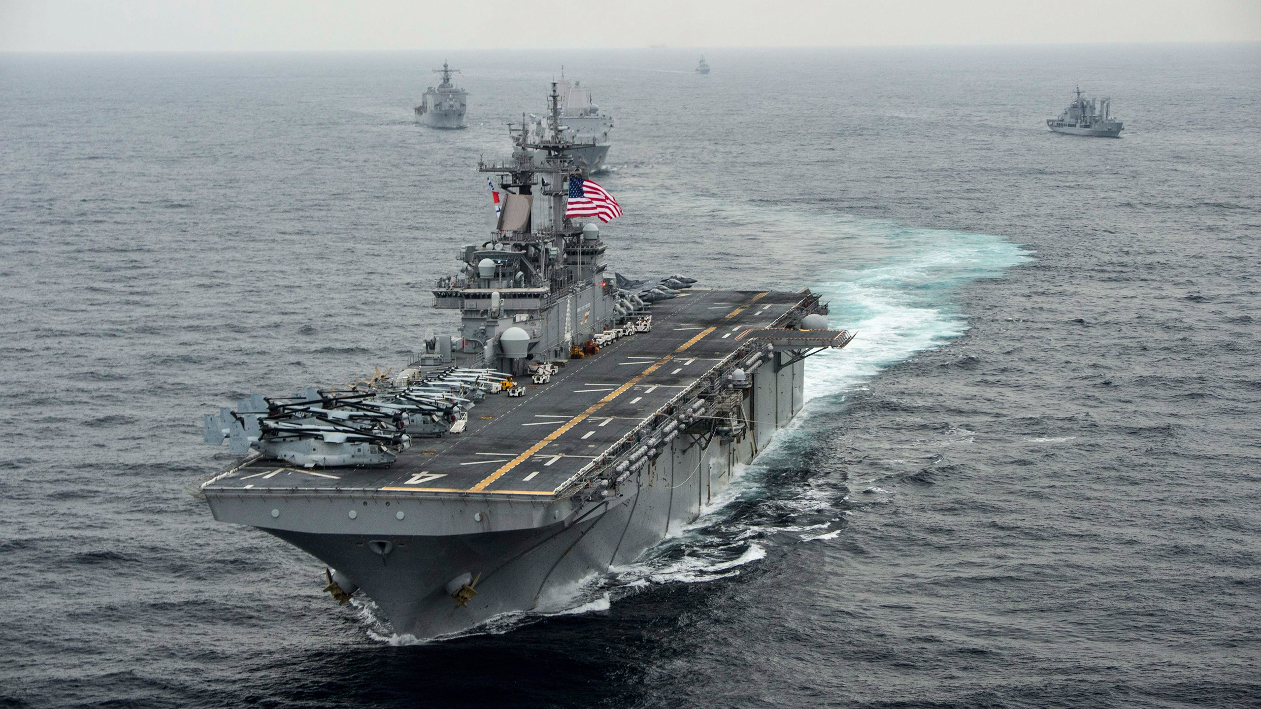 A handout photo provided by the U.S. Navy Media Content Operations on March 9, 2016, shows the amphibious assault ship USS Boxer (LHD 4) transiting the East Sea during Exercise Ssang Yong, in conjunction with the Republic of Korea Navy, one day earlier.