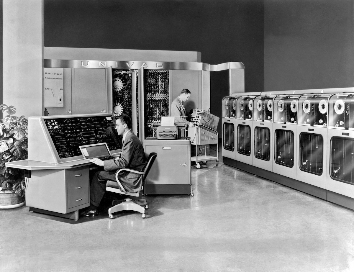 The Remington Rand Univac was the first commercial computer produced in the United States. It is seen here in Philadelphia in 1951.
