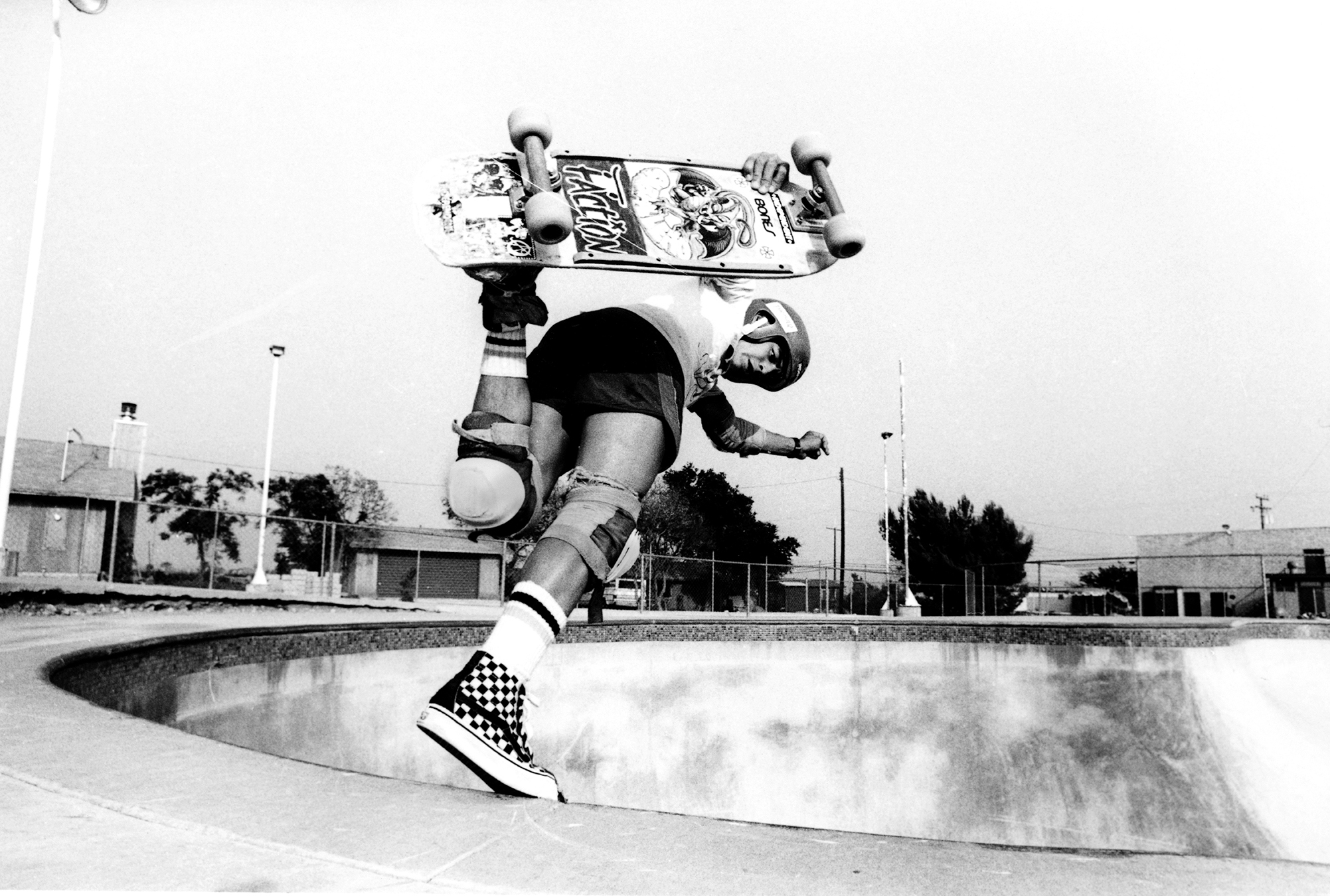 Professional skater Steve Caballero skates wearing a pair of Vans checkerboard high tops in 1984.