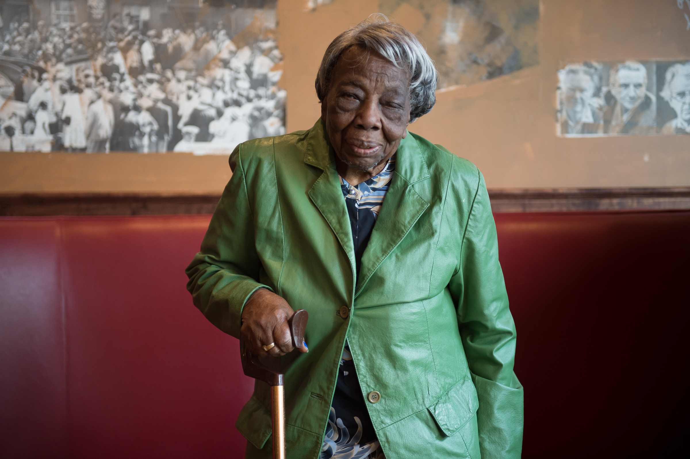106 year-old Virginia McLaurin in Busboys and Poets on Feb 22, 2016 in Washington, DC.