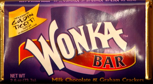 A Wonka chocolate bar produced for the 30th anniversary of the film 'Willy Wonka & The Chocolate Factory' is on display August 27, 2001 at the Warner Bros. Studio Store in New York City.