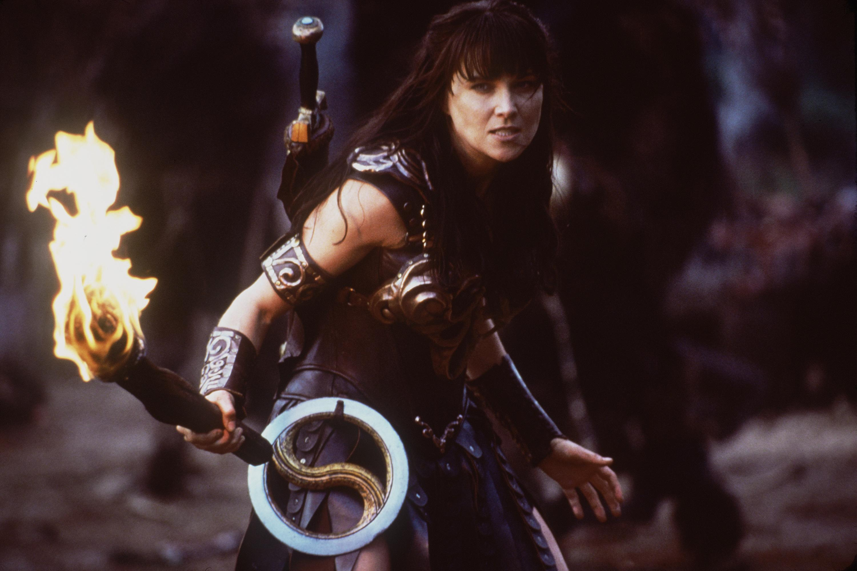 Actress Lucy Lawless stars as Xena in Renaissance Pictures and Studio USA''s syndicated television series  Xena Warrior Princess.