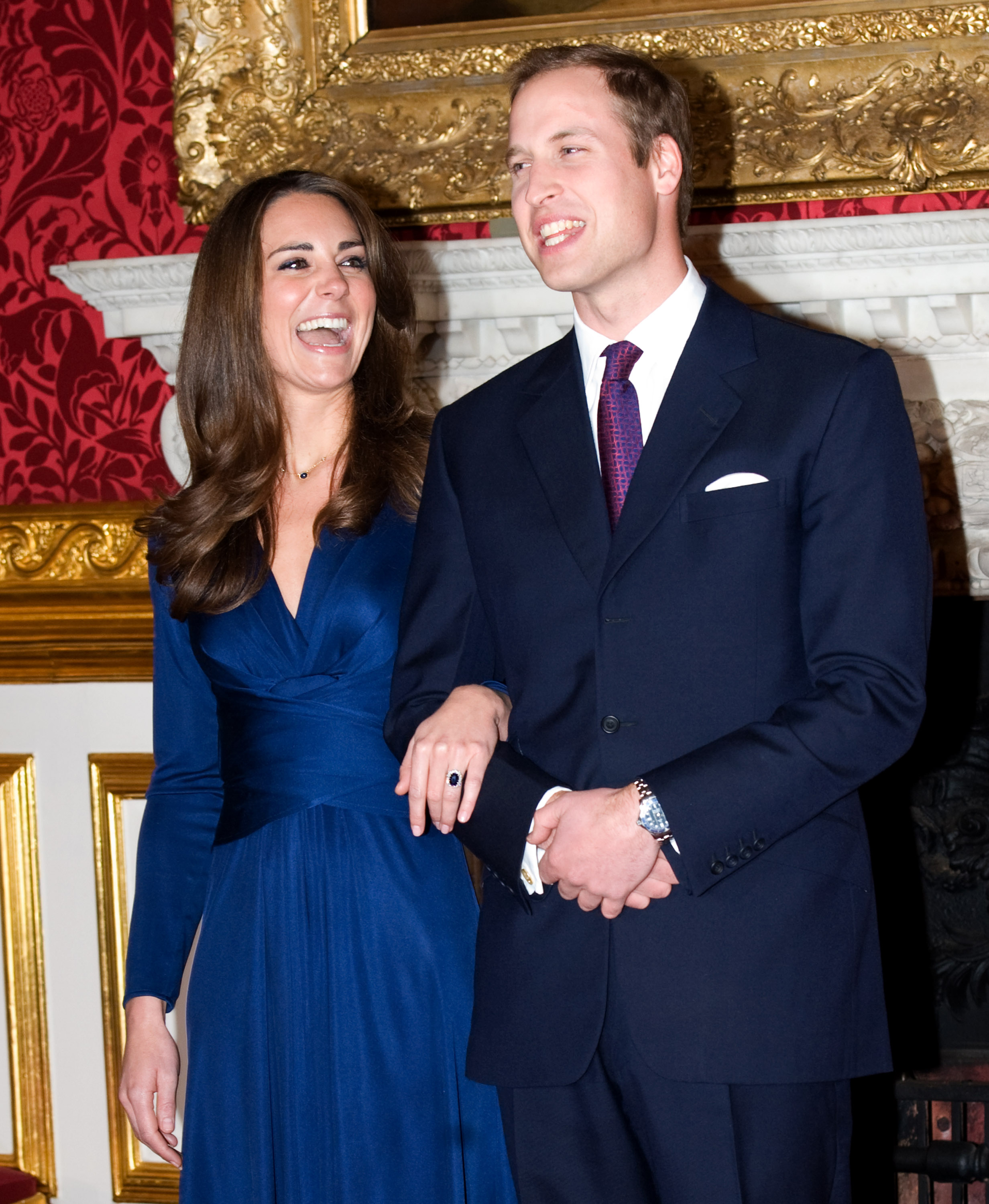 Prince William and Kate Middleton pose for photographs in the State Apartments of St James Palace after announcing their engagement. The couple became engaged during a recent holiday in Kenya having been together for eight years.  London, Nov. 16, 2010.