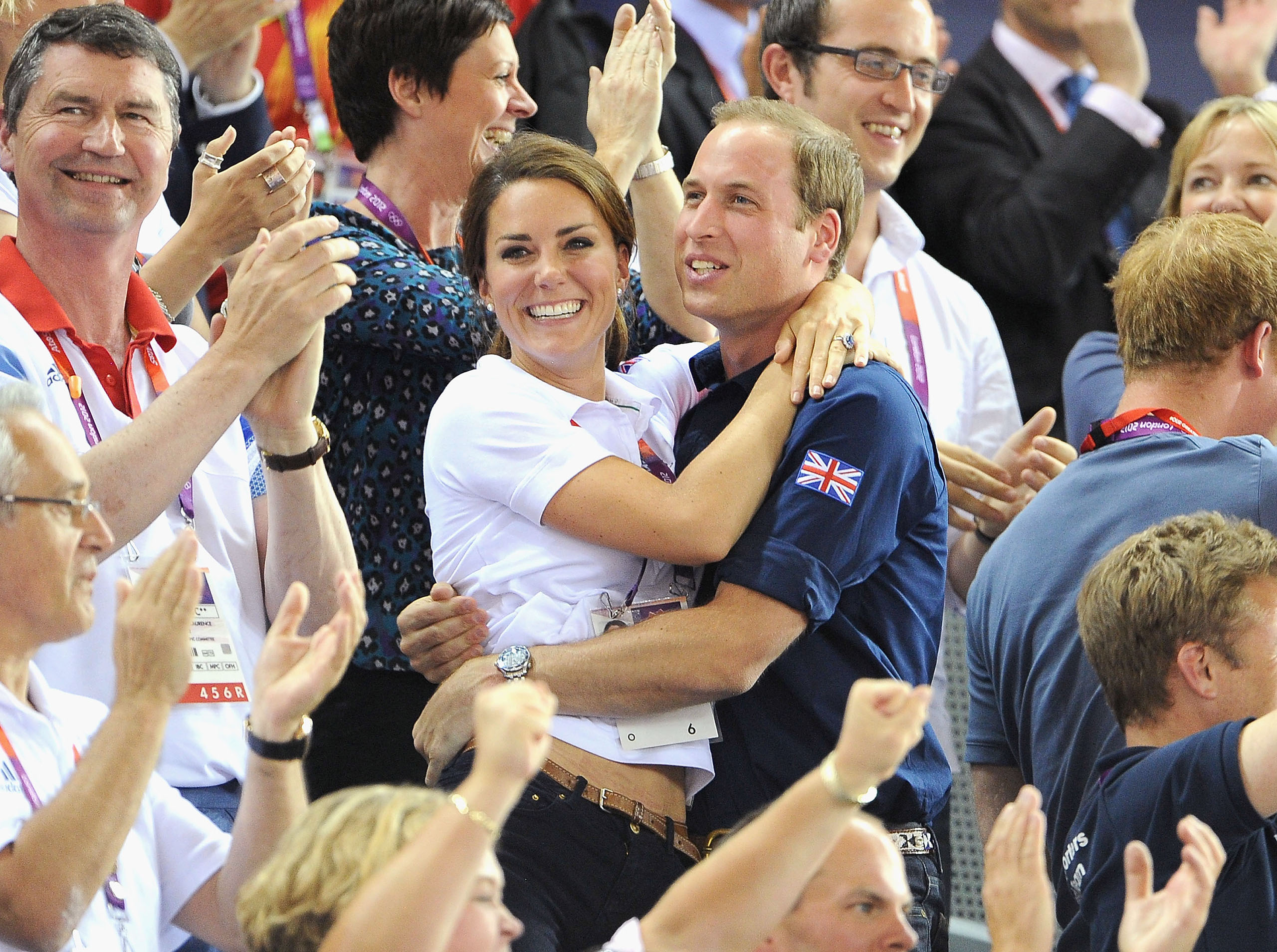 Catherine and Prince William during Day 6 of the London 2012 Olympic Games on Aug. 2, 2012.