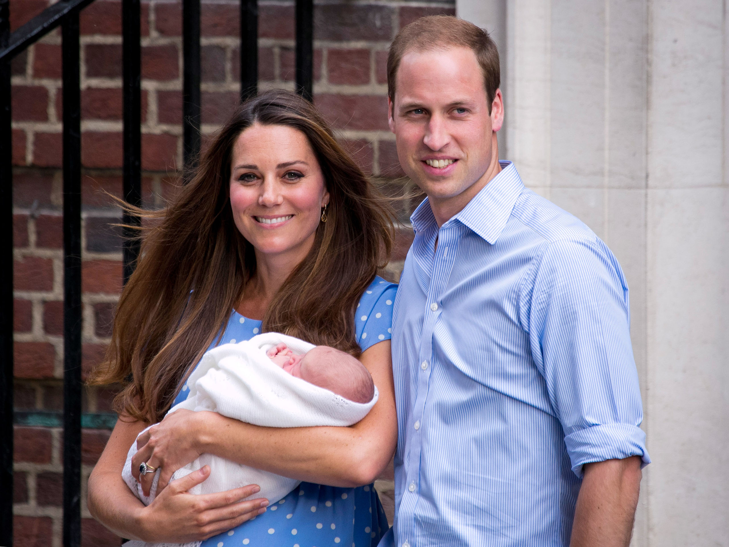 Prince William and Catherine with their newborn son, Prince George, depart the Lindo Wing of St Mary's Hospital in London on July 23, 2013.