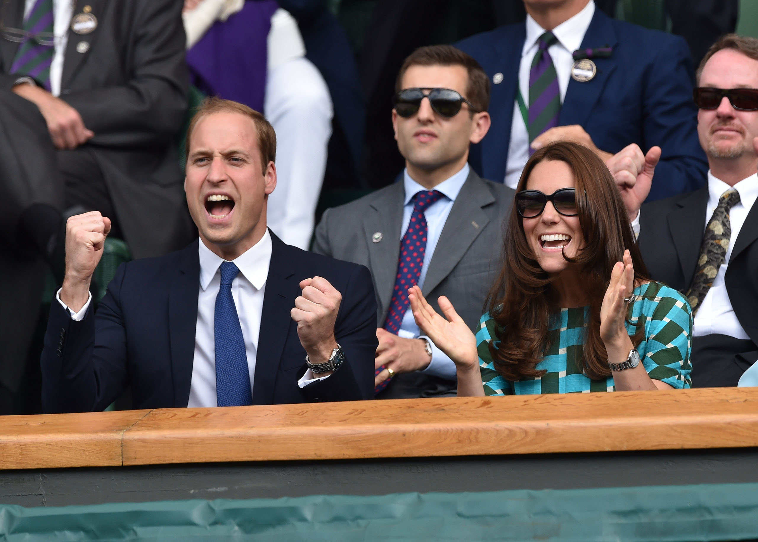 Catherine, Duchess of Cambridge and Prince William, Duke of Cambridge, attend the mens singles final between Novak Djokovic and Roger Federer on centre court during day thirteen of the Wimbledon Championships at Wimbledon  in London on July 6, 2014.