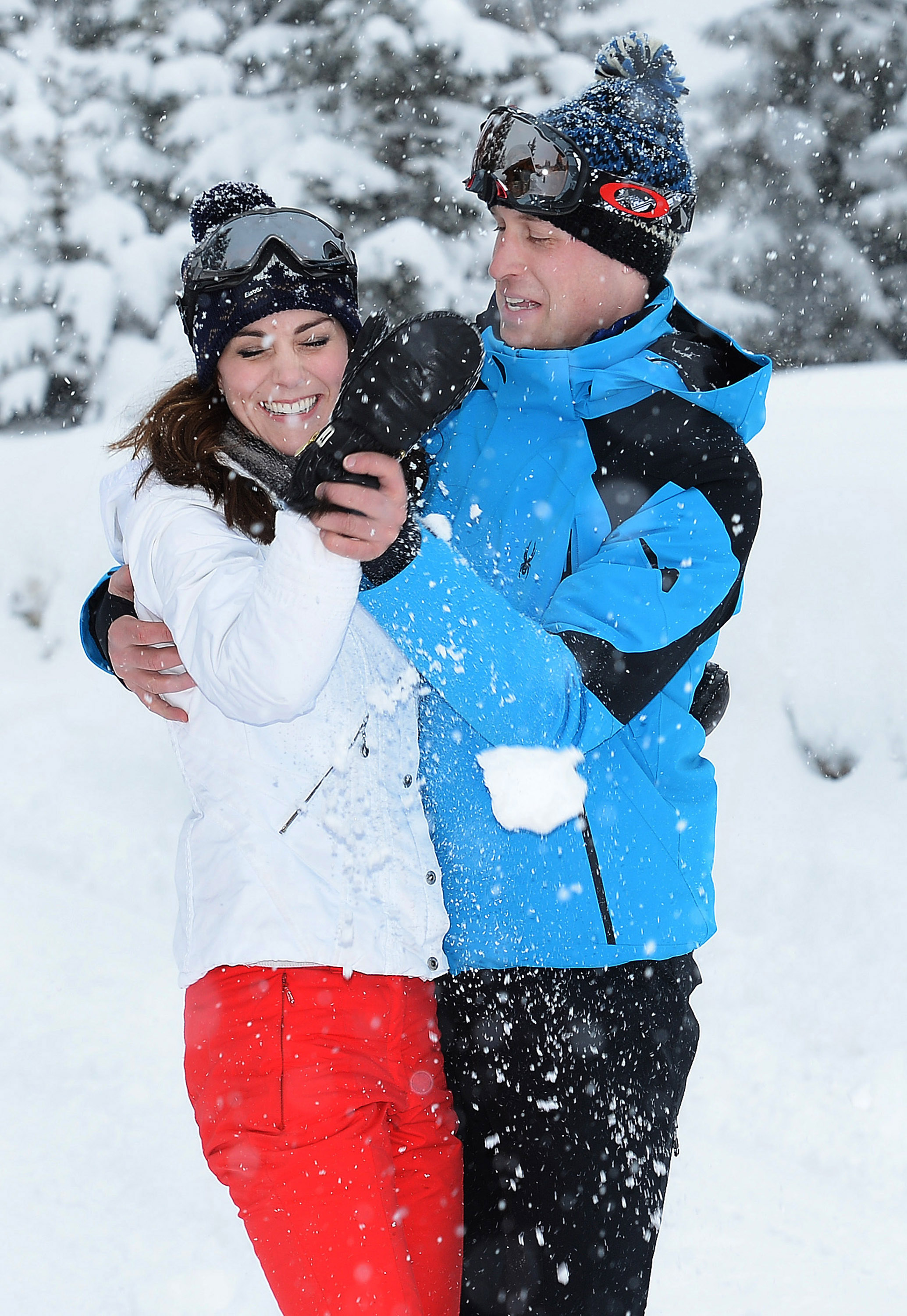 Catherine, Duchess of Cambridge and Prince William, Duke of Cambridge, enjoy a short private skiing break in the French Alps on March 3, 2016.