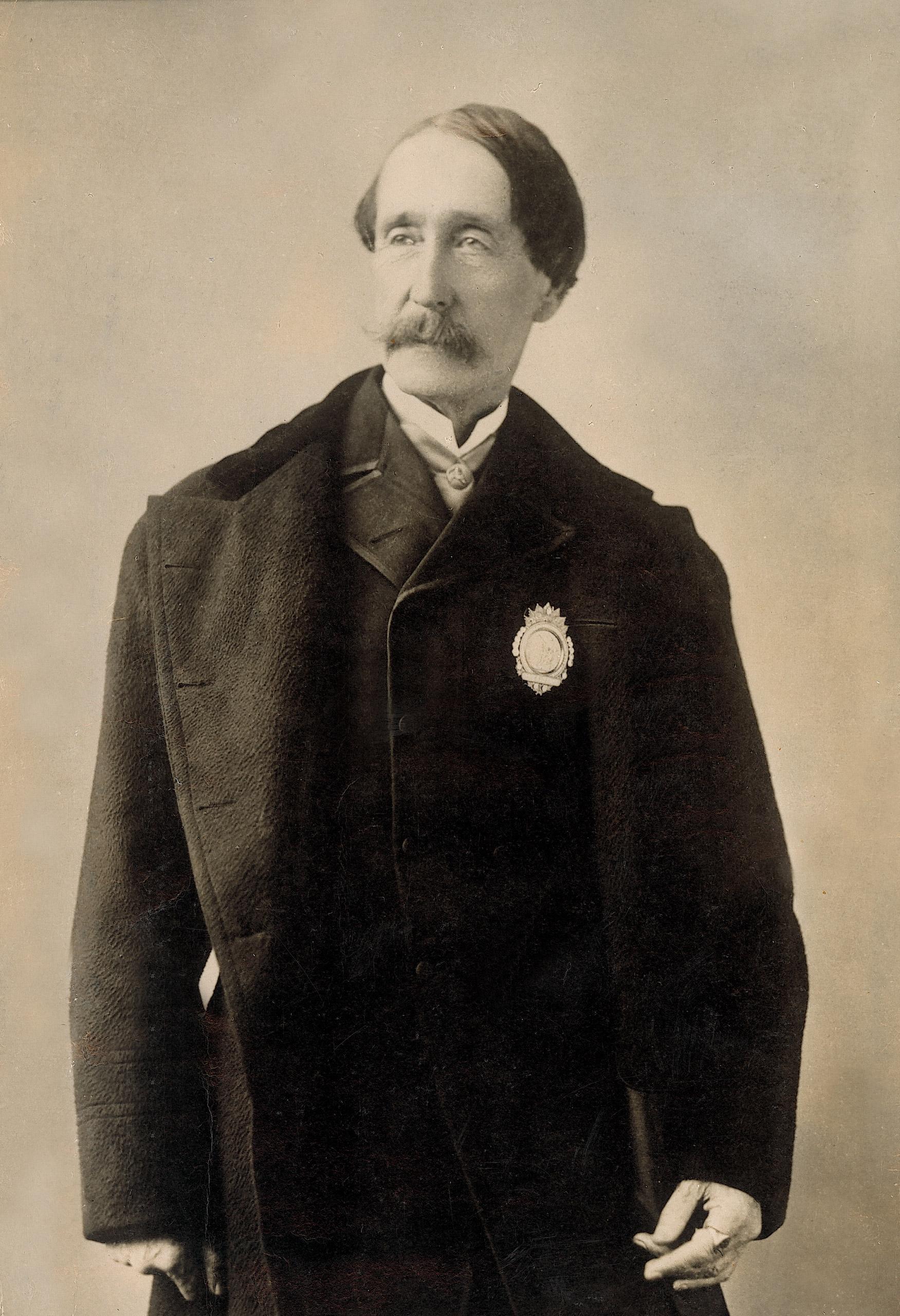 ASPCA founder, Henry Bergh, wearing ASPCA President's badge, 1868.