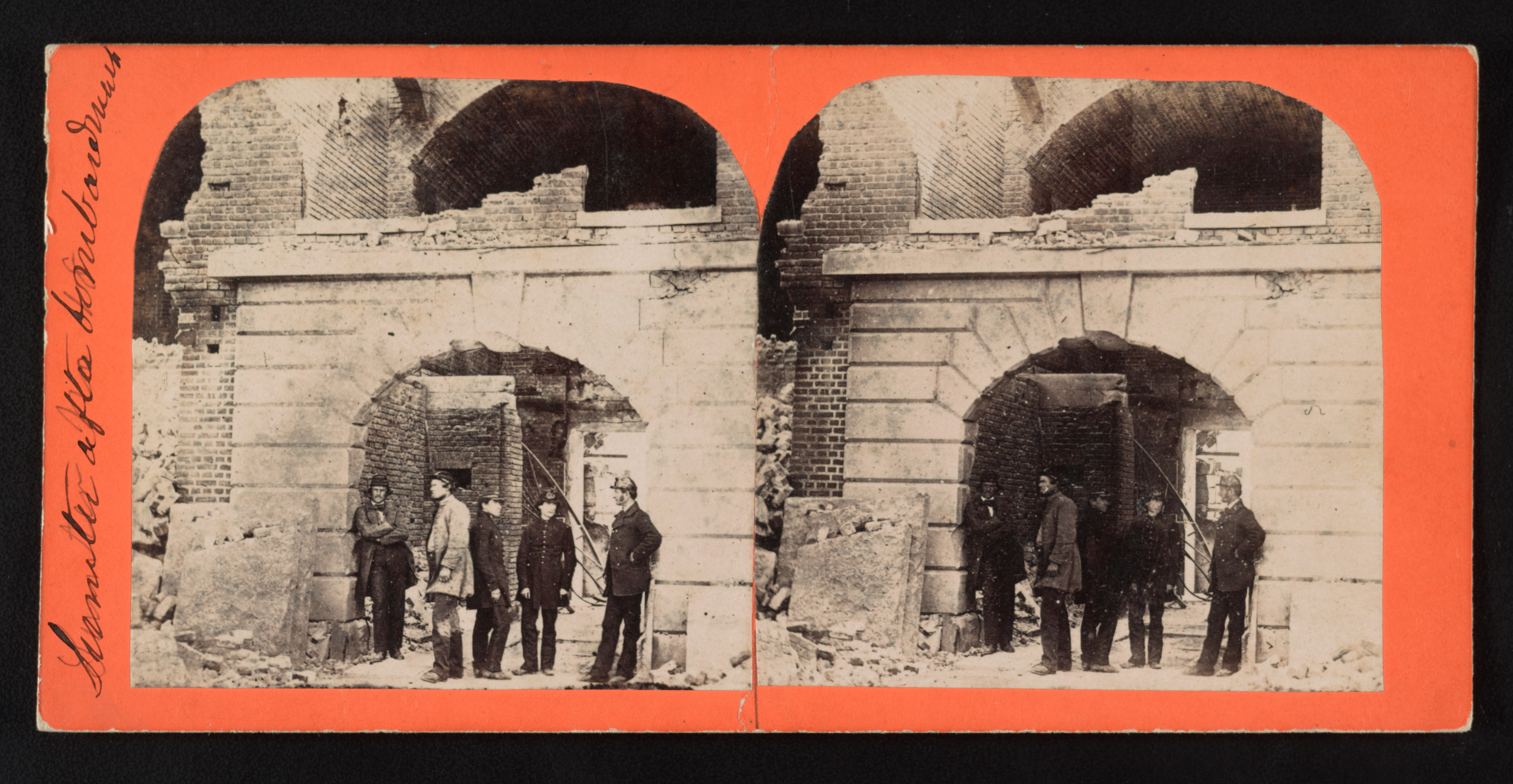 Sumter after the bombardment. Stereograph from The Robin G. Stanford Collection.