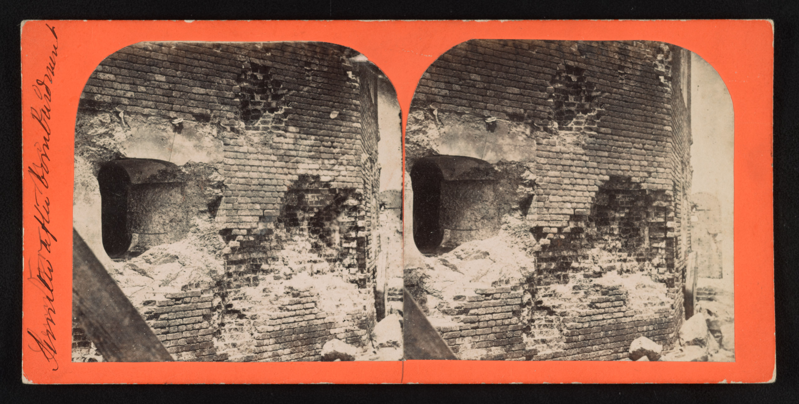 Sumter after bombardment showing damage to the southwest corner of the fort, including an embrasure at left. Stereograph from The Robin G. Stanford Collection.