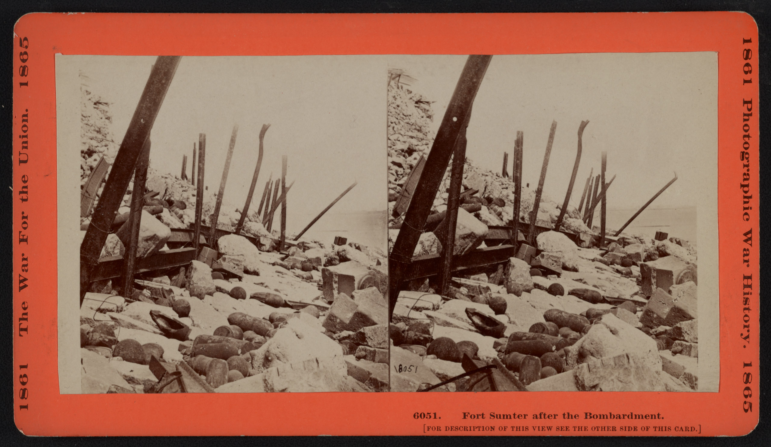 Fort Sumter after the bombardment. Stereograph shows ruins of artillery among the rocks on the exterior of Fort Sumter. From the Civil War Photograph Collection.