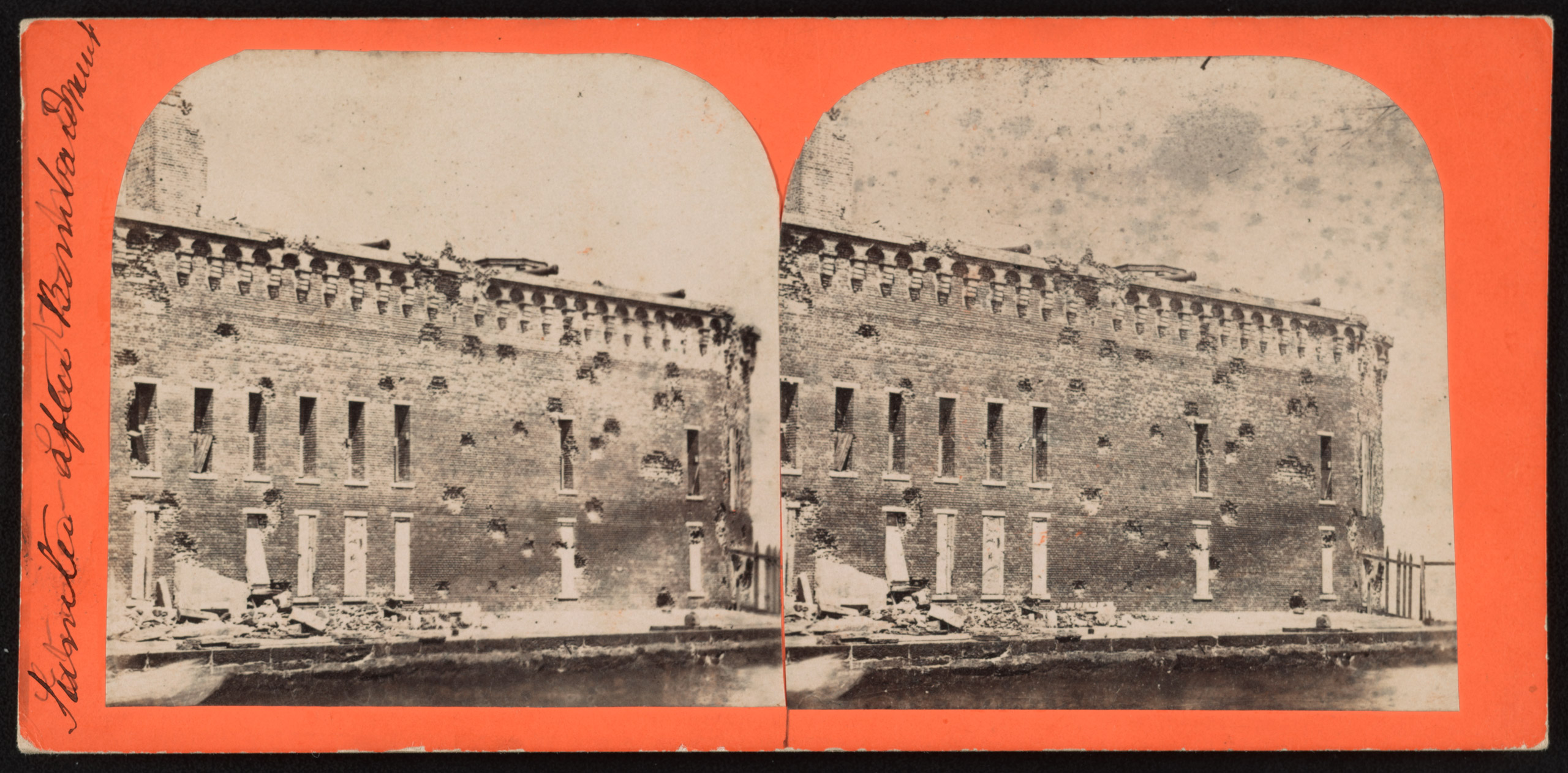 Sumter after bombardment. Stereograph from The Robin G. Stanford Collection.