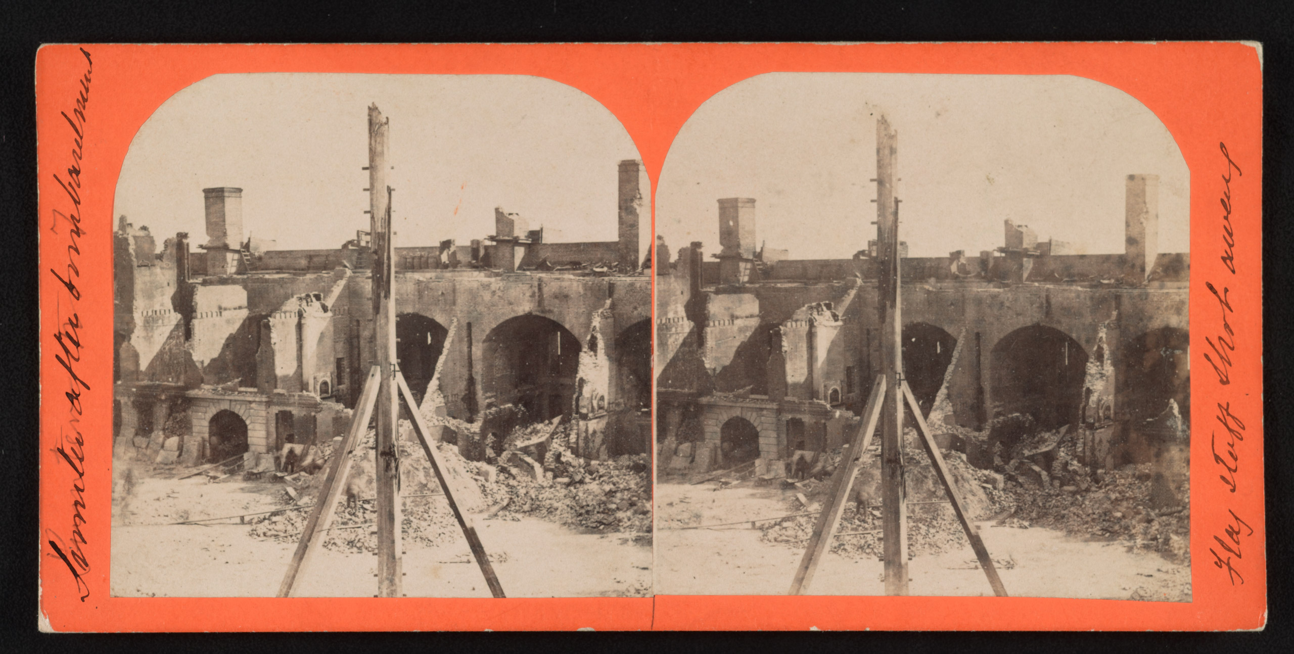 Sumter after bombardment, flag staff shot away. Stereograph from The Robin G. Stanford Collection.