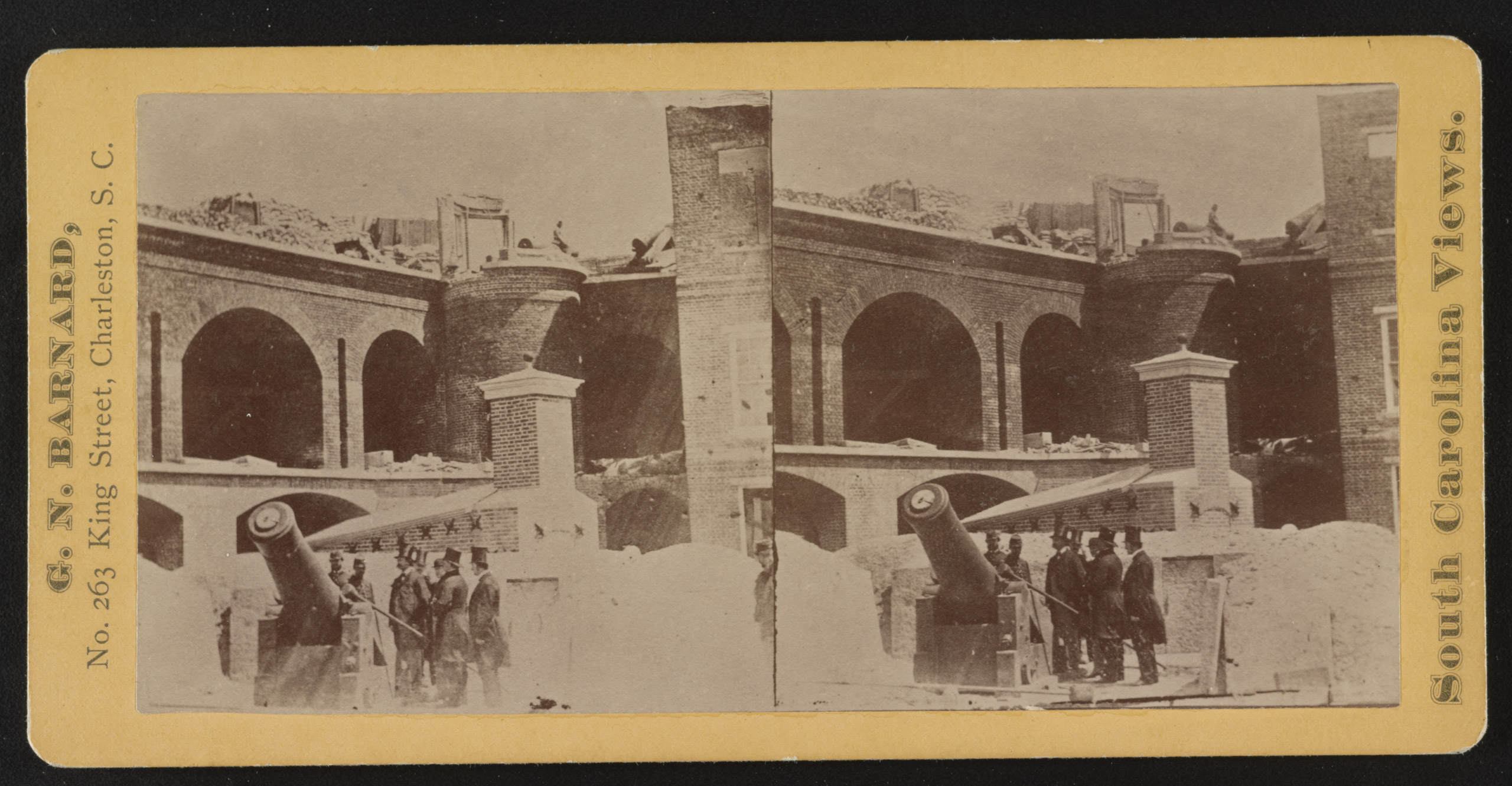 Fort Sumter, stereograph shows a group of men, possibly including Governor Francis Pickens and state Senator Wade Hampton, inspecting a 10 inch Columbiad inside of Fort Sumter after the bombardment. From The Robin G. Stanford Collection.
